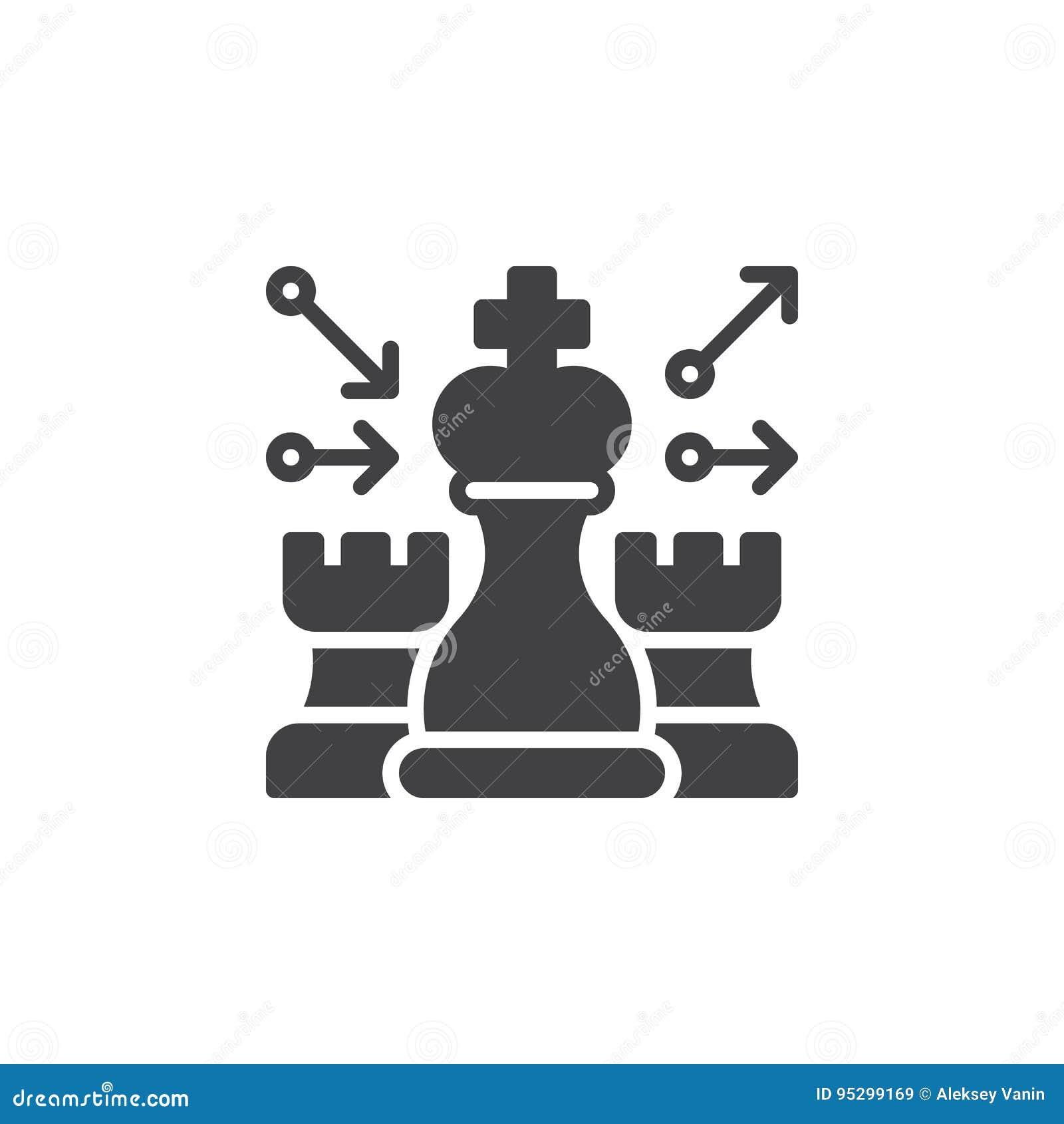 Szachy, strategii ikony wektor, wypełniający mieszkanie znak, stały piktogram odizolowywający na bielu