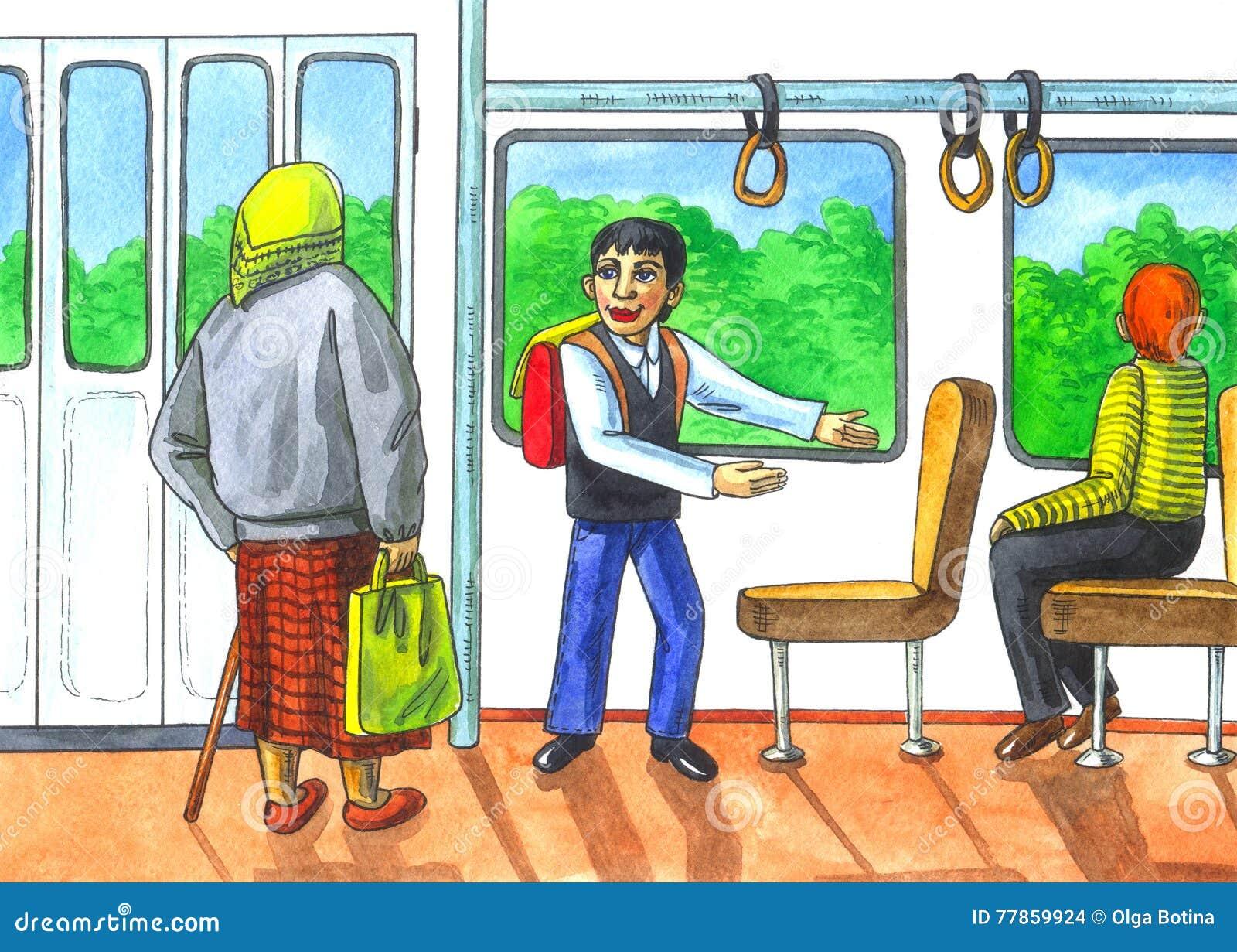 Szacunek starsze osoby w transporcie