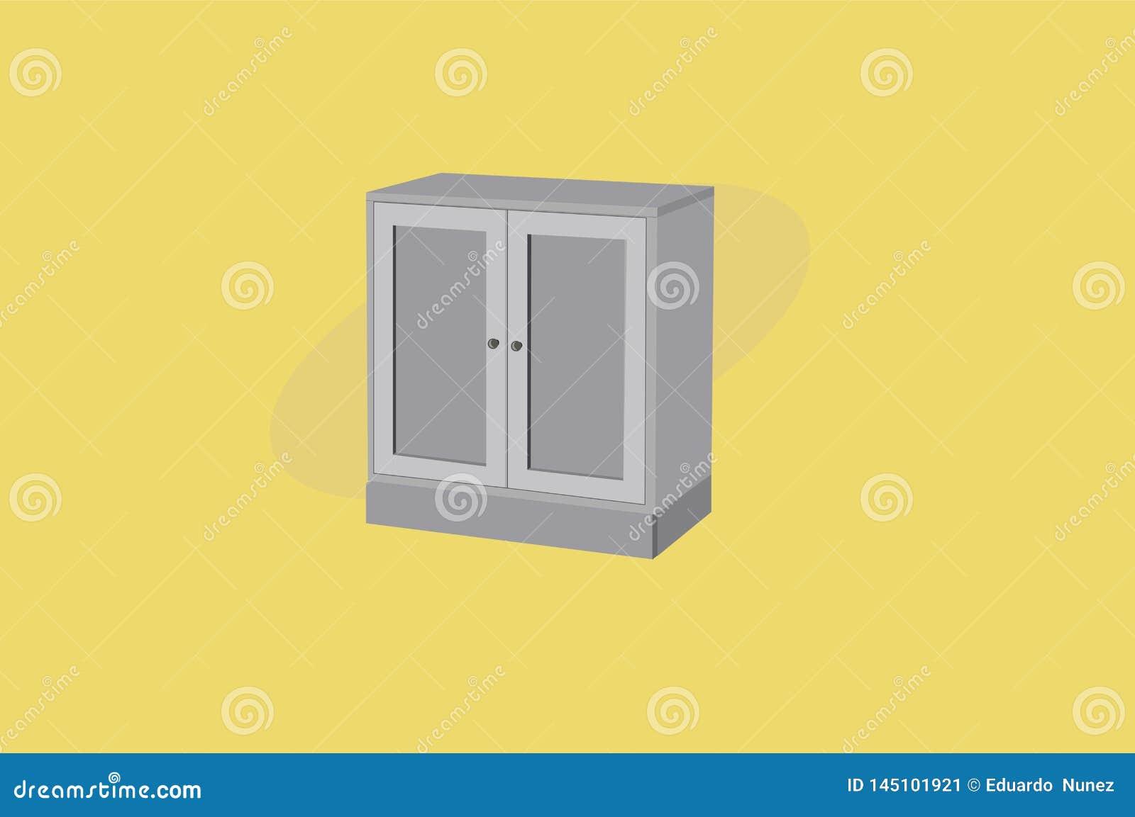 Szafa lub garderoba Popielaty Drewniany meble Wektorowa ilustracja, odizolowywaj?ca