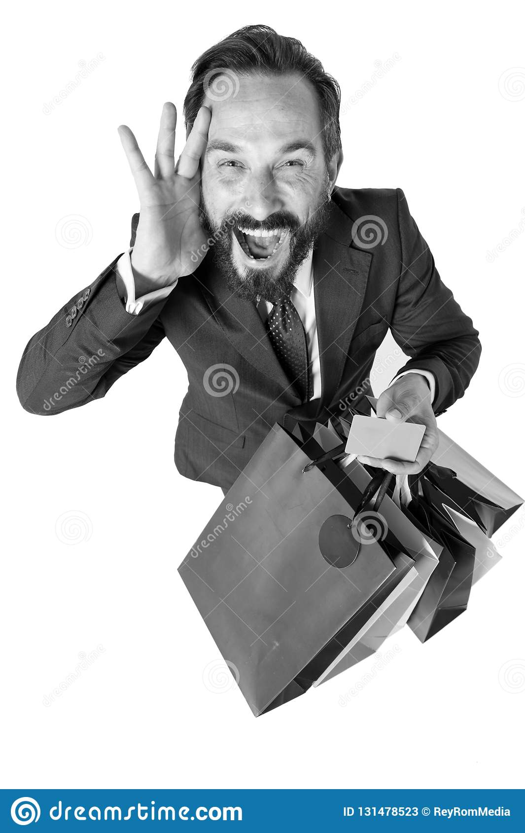 Szalony rabata czas dla robić zakupy Zadziwiający sprzedaż okres Atrakcyjny biznesmen z torba na zakupy i kredytowa karta w rękac
