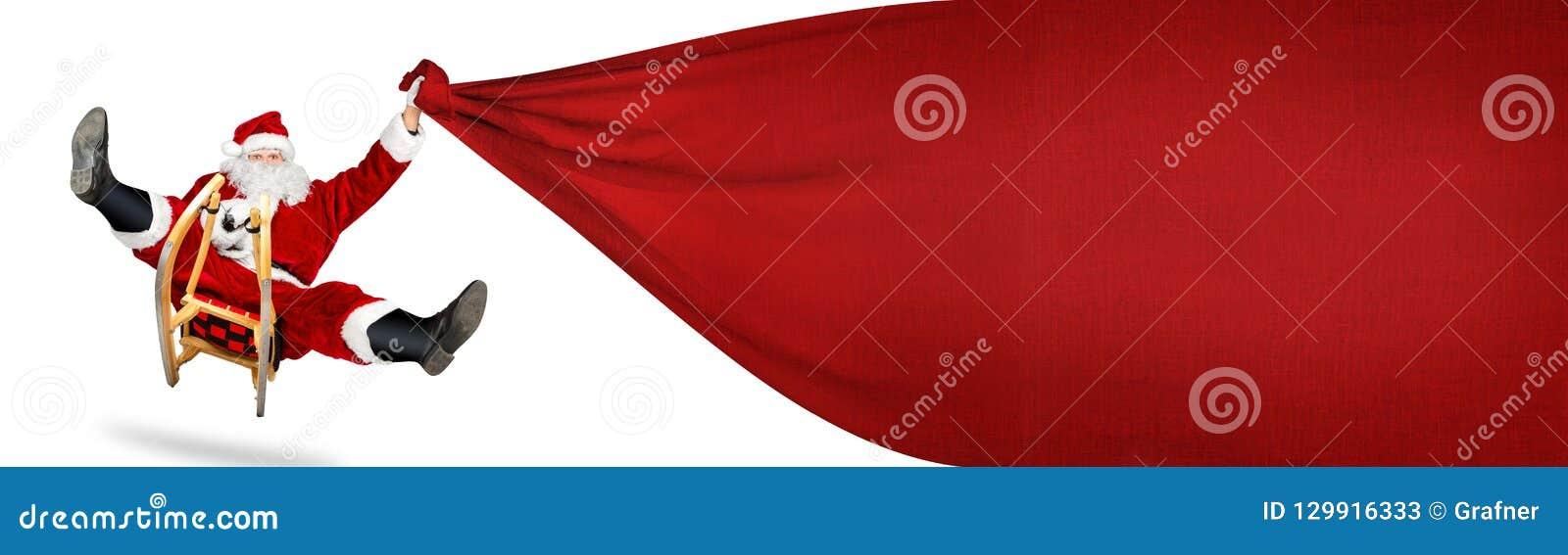 Szalony Santa Claus na jego sanie prezenta dużej czerwonej torbie