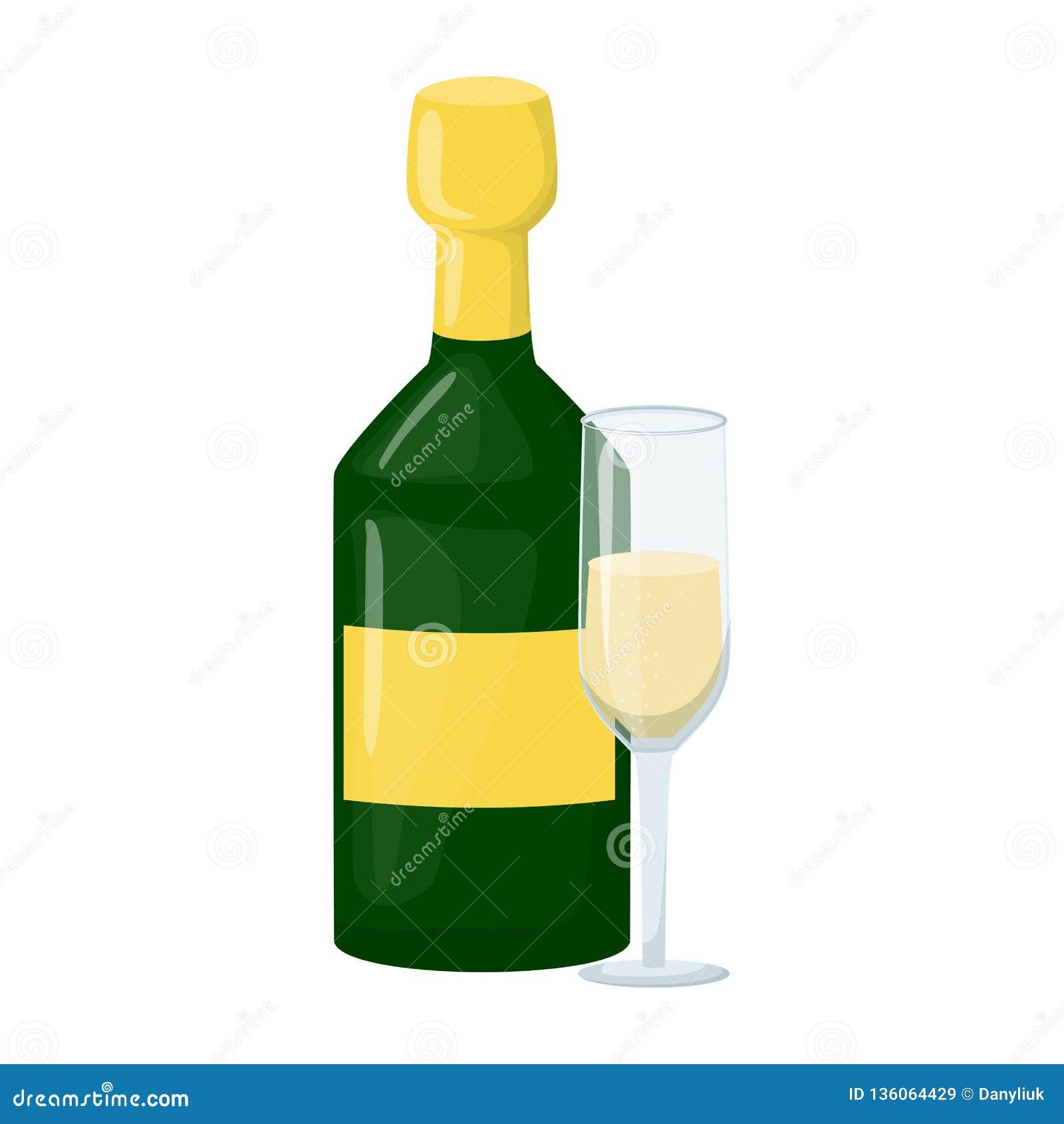 Szampańska butelka z wina szkła grzanką, otucha wektoru ilustracja Nowego Roku szampan 2019 Alkohol, pluśnięcie, napój Boże Narod