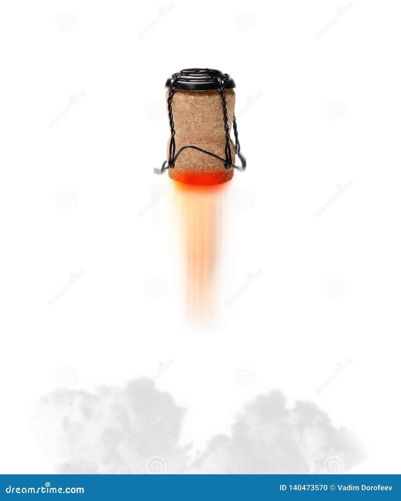 Szampana korkowy latanie jak rakieta z płomieniem rozdziera z «nozzle « atmosfera świąteczna