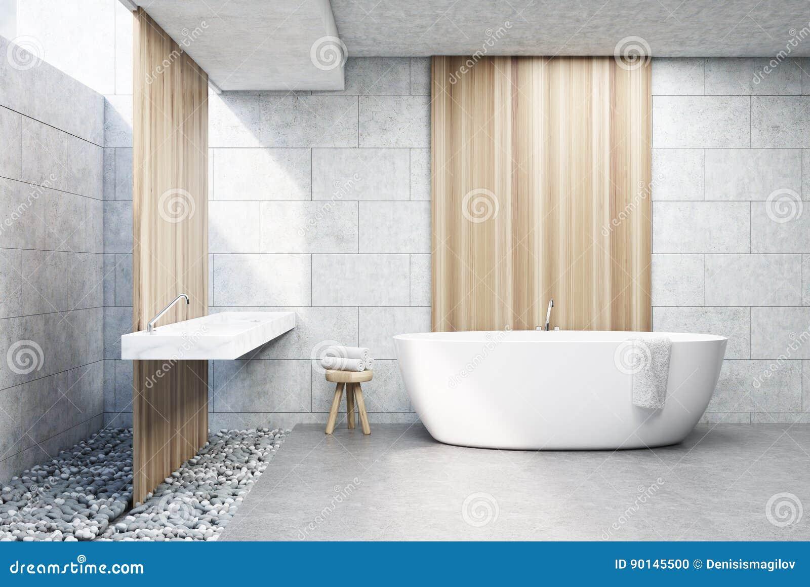 Szara Ceglana łazienka Biała Balia Przód Ilustracji