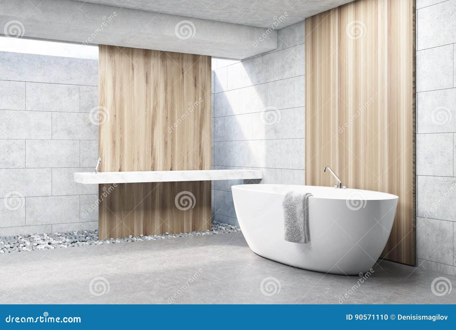 Szara Ceglana łazienka Biała Balia Strona Ilustracji