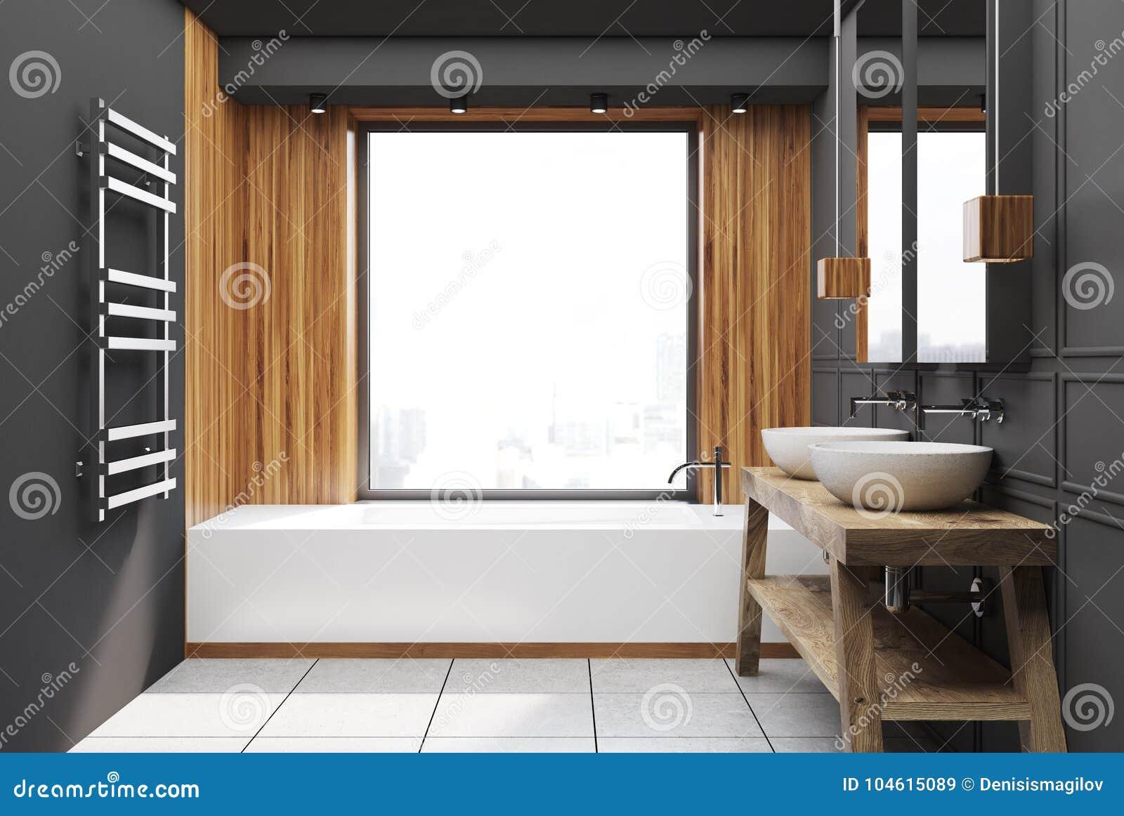 Szara I Drewniana łazienka Ilustracji Ilustracja Złożonej Z