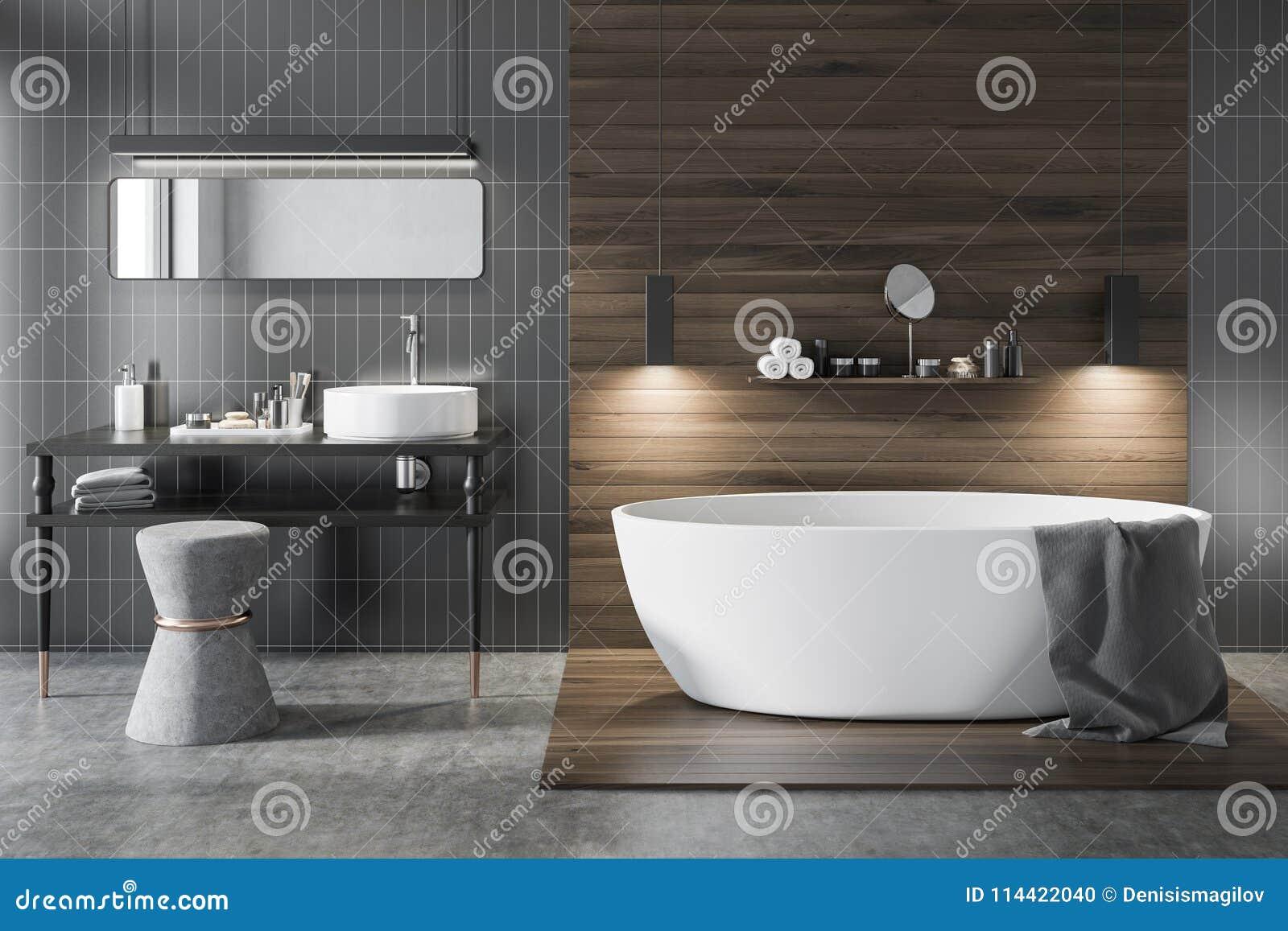 Szara I Drewniana Luksusowa łazienka Ilustracji Ilustracja