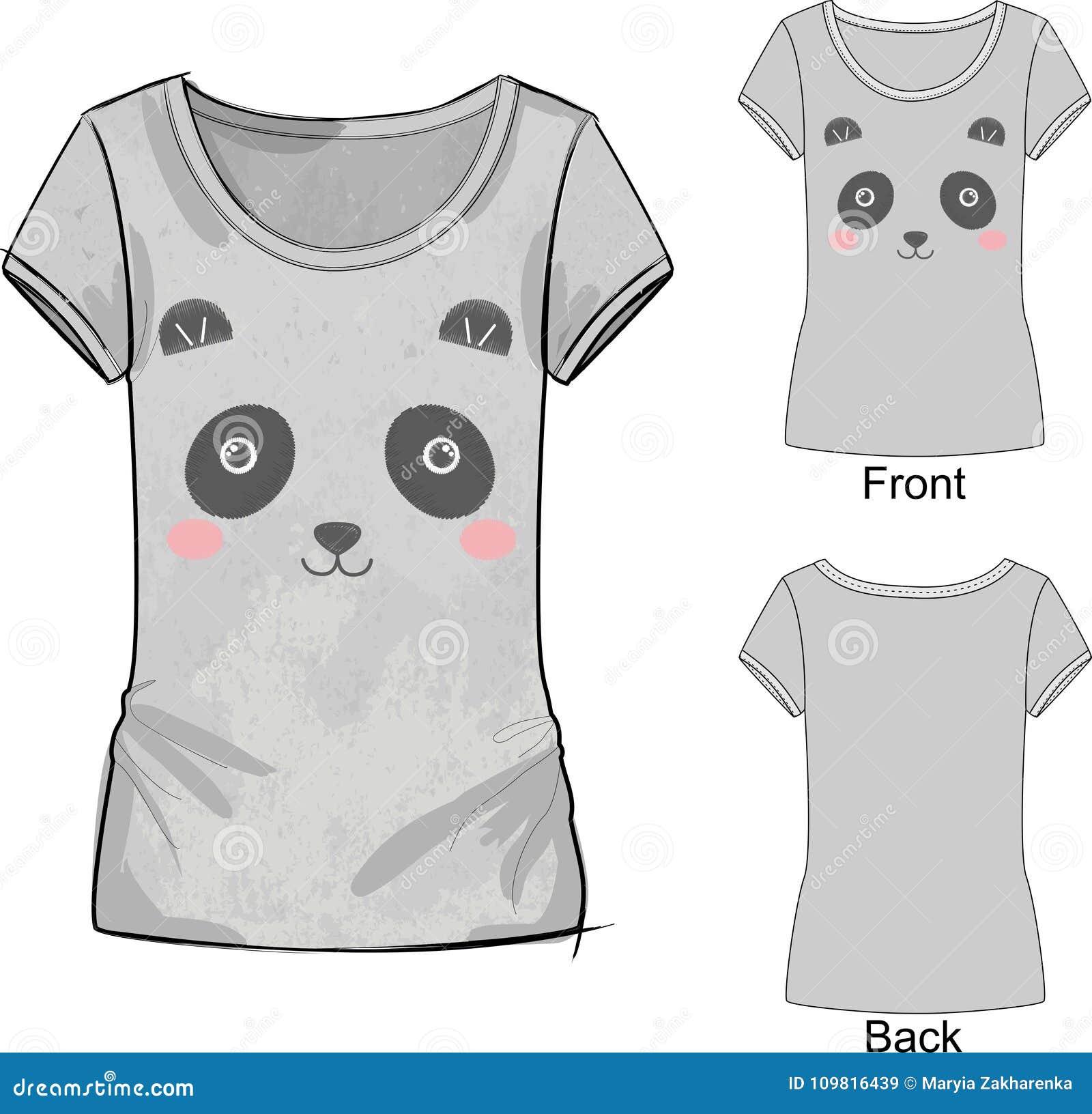 Szara t koszula z moda drukiem z Wektorową ilustracją śliczna broderia bielu i menchii zabawkarska panda