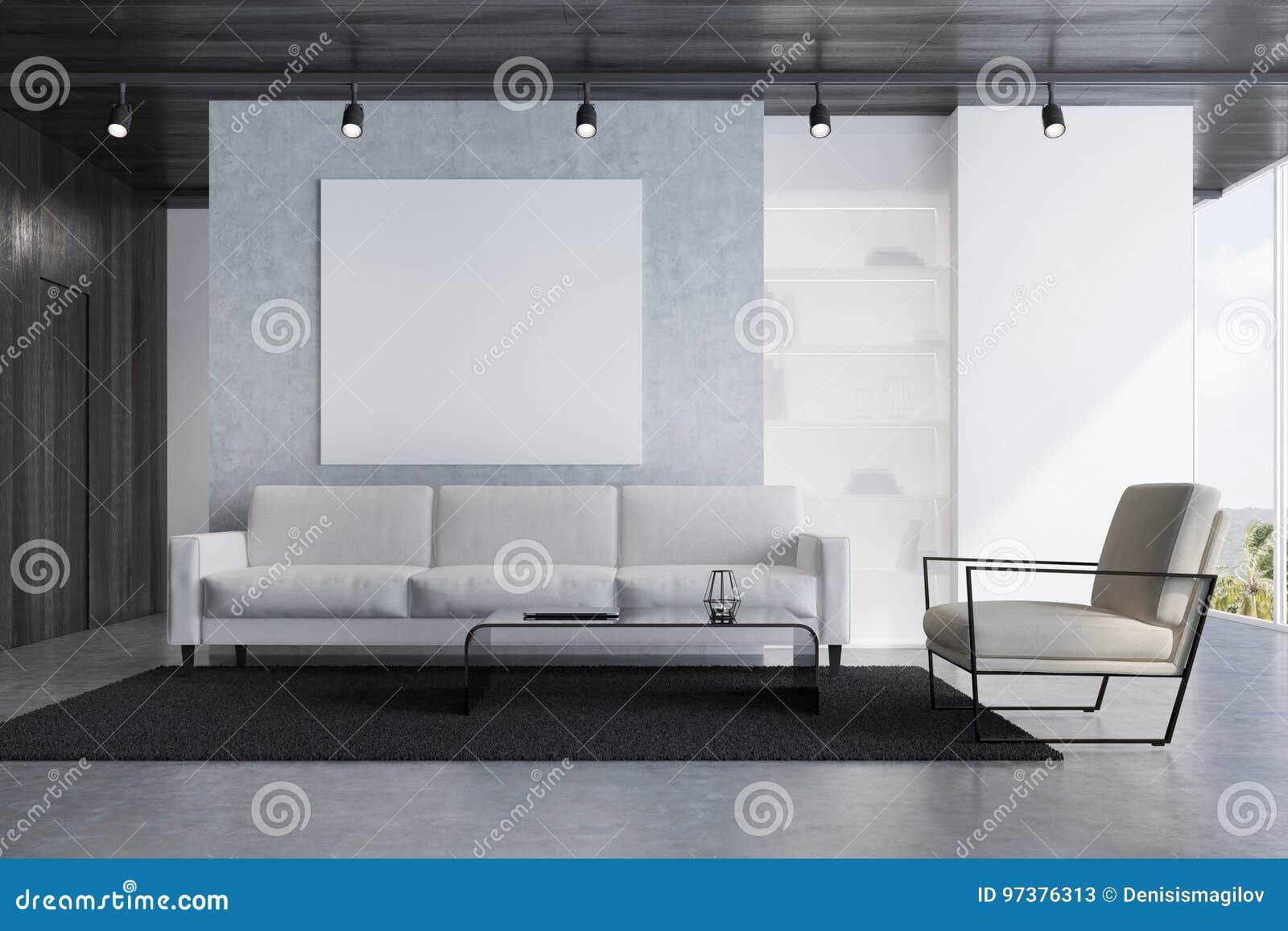 Szarej Kanapy żywy Pokój Z Plakatem Ilustracji Ilustracja