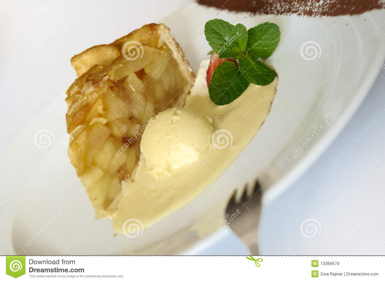 Traditional polish apple pie Szarlotka served hot with ice cream.
