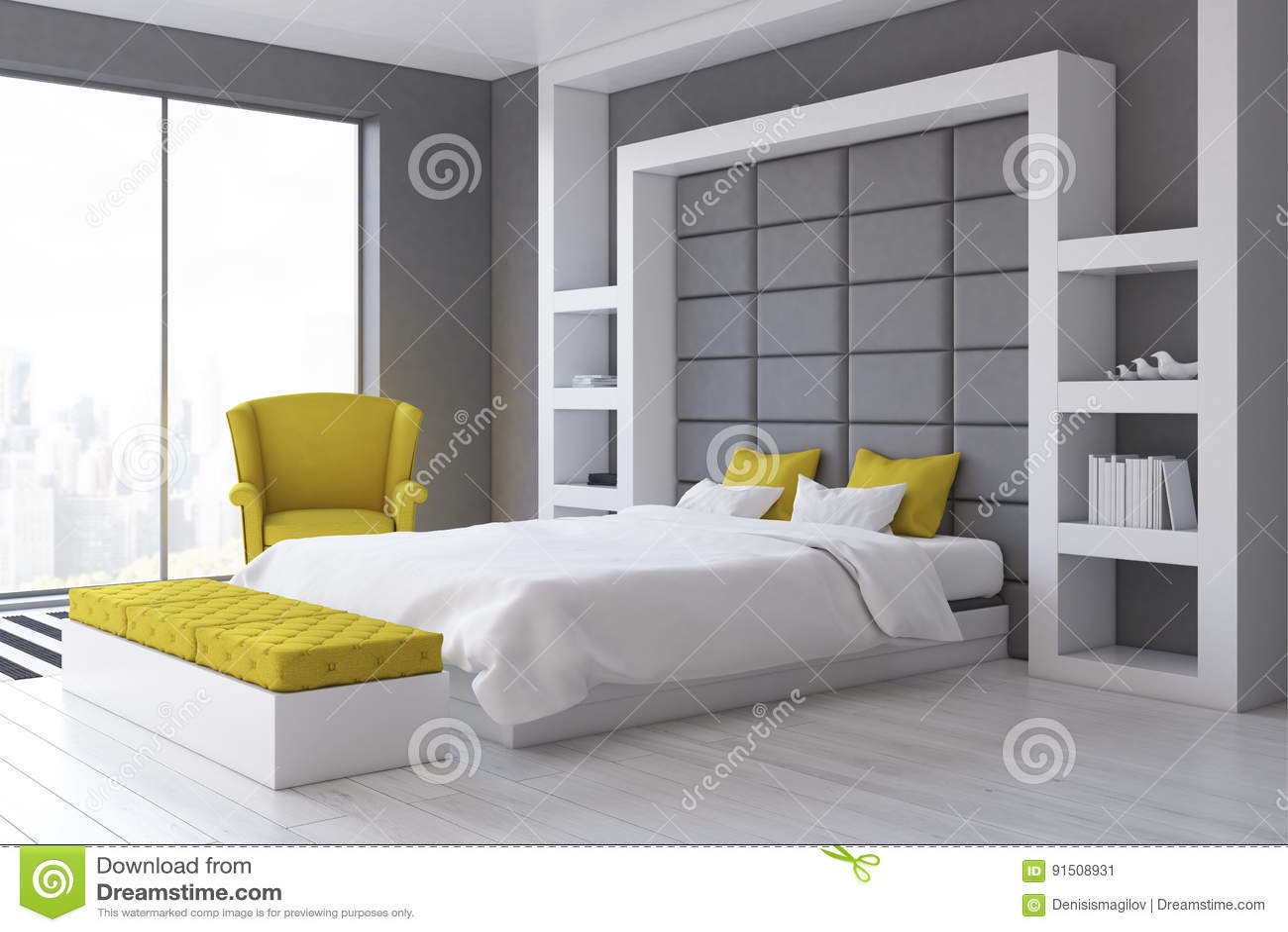 Szarości ścienna sypialnia, strona