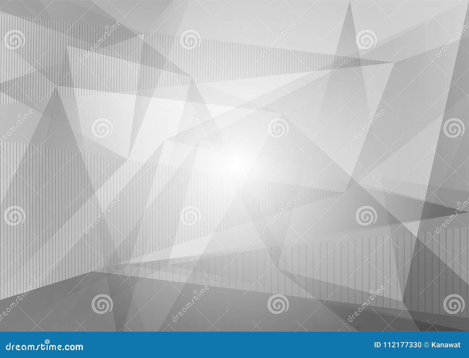 Szary i biały wielobok i geometryczny abstrakcjonistyczny tło, Wektorowa ilustracja z kopii przestrzenią, Graficzny projekt