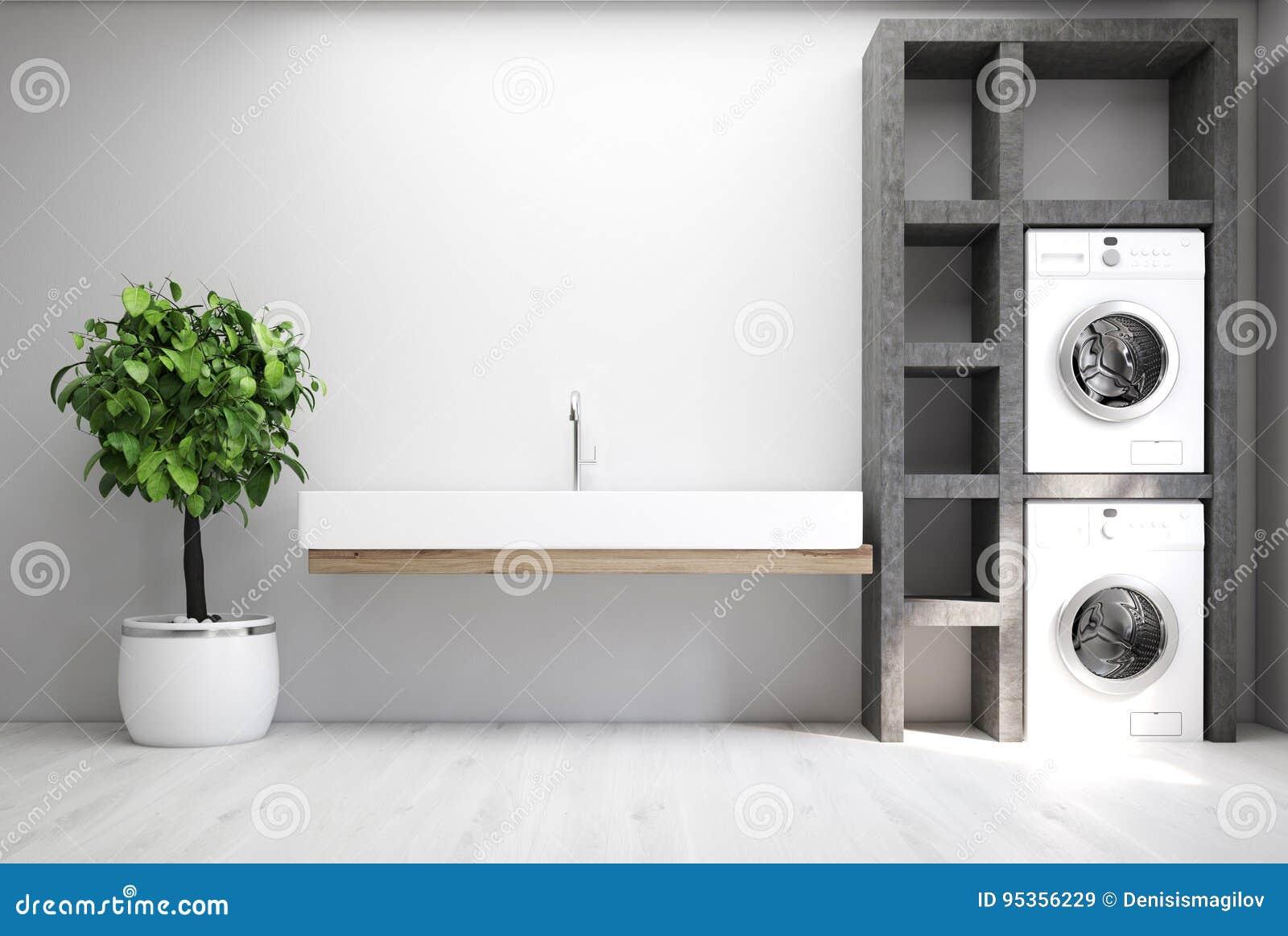 Szary pralniany pokój, zlew
