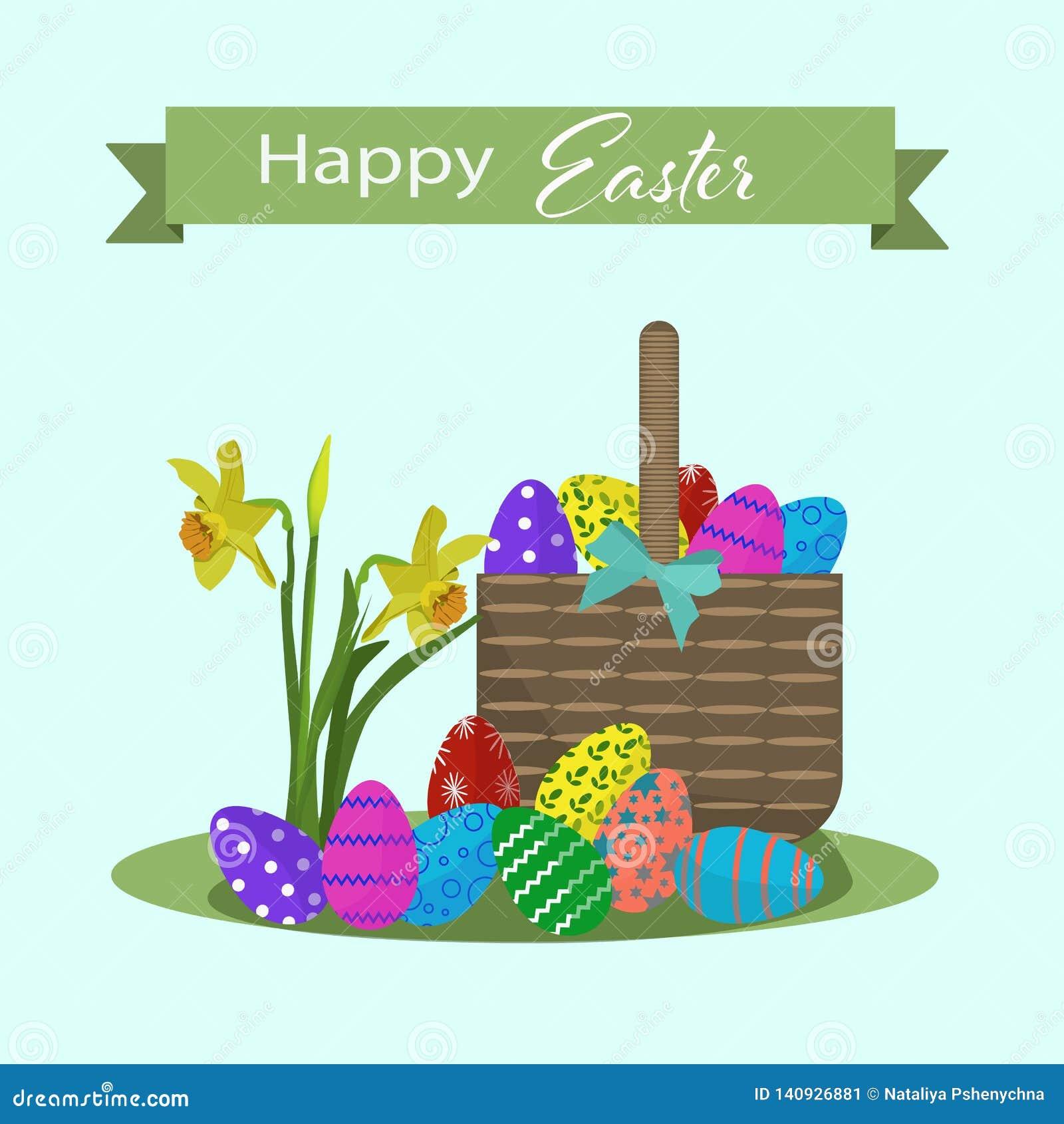 Szczęśliwa Easter greating karta z kolorowymi jajkami i koszem