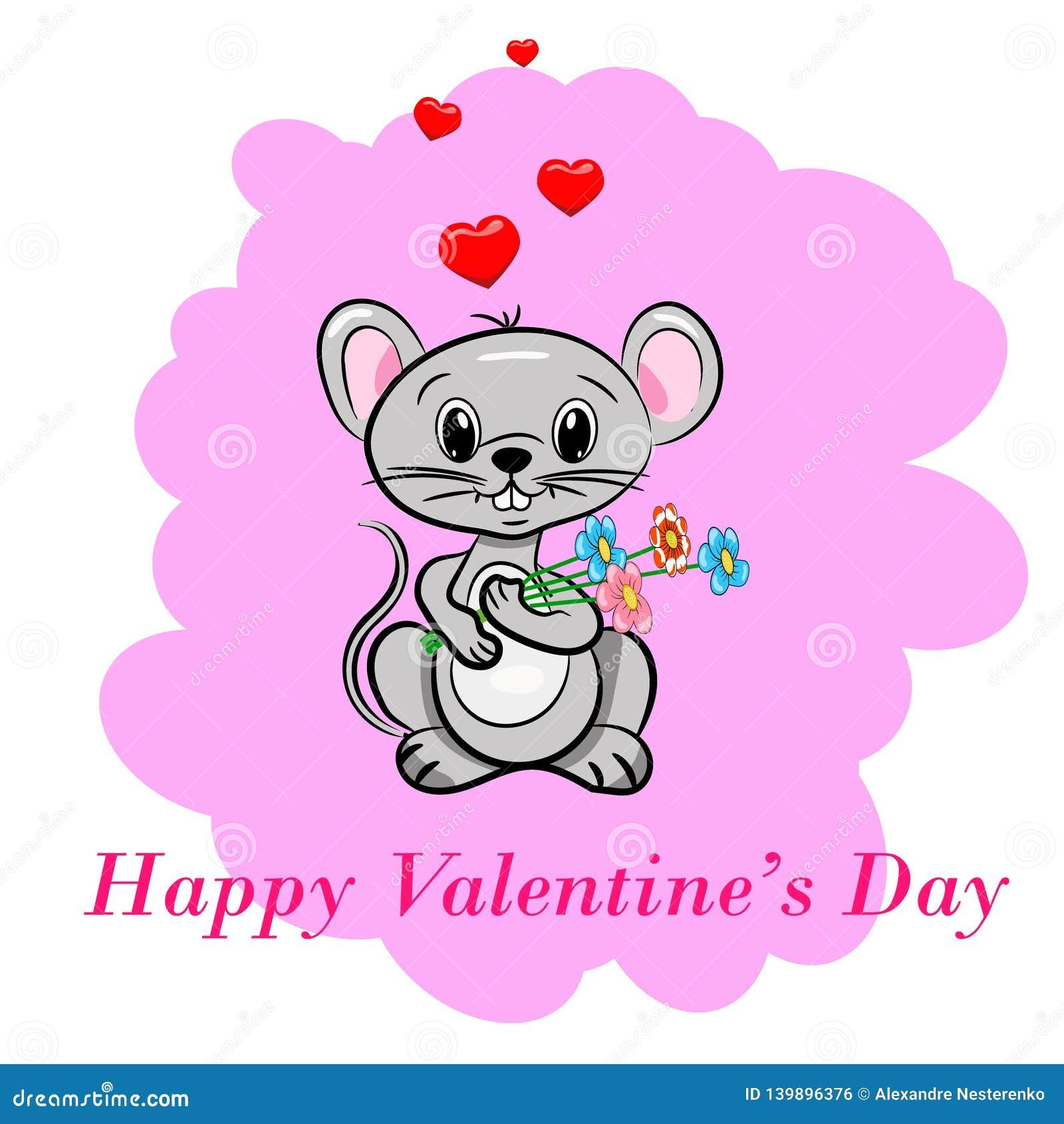 Szczęśliwy dzień valentine s Macierzysta Słodka Śliczna mysz trzyma bukiet kwiatu prezenta serca menchii tła kreskówki stylu pocz