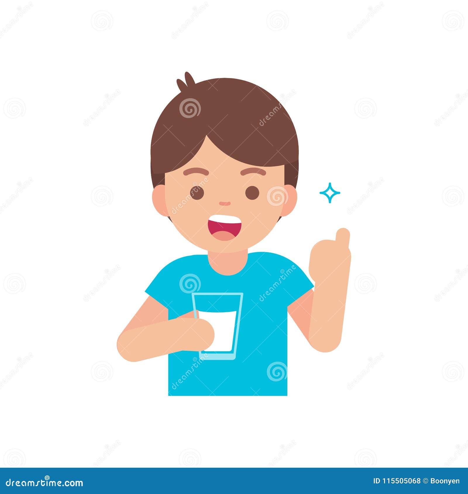 Szczęśliwa śliczna chłopiec pije mleko, trzyma szkło dojny pojęcie, wektorowa płaska ilustracja