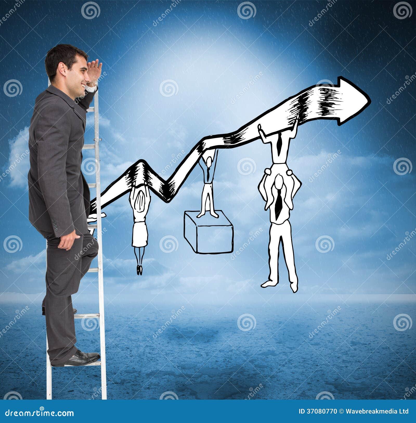 Download Szczęśliwa Biznesmen Pozycja Na Drabinie Zdjęcie Stock - Obraz złożonej z biznes, niebo: 37080770
