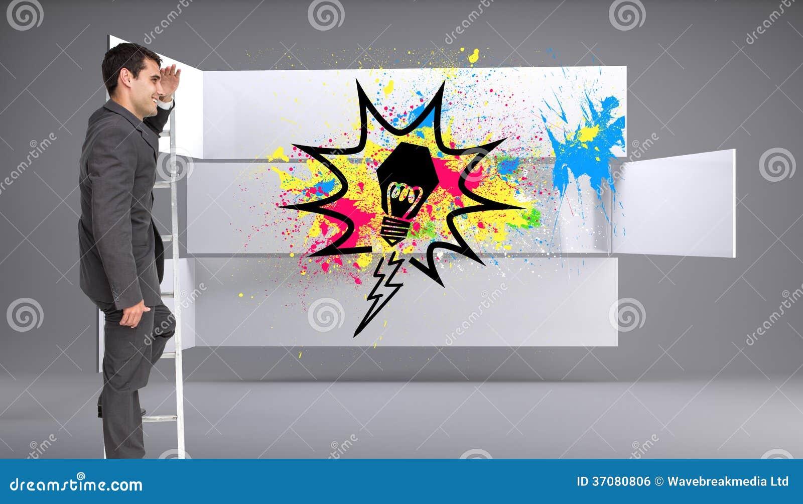 Download Szczęśliwa Biznesmen Pozycja Na Drabinie Zdjęcie Stock - Obraz złożonej z potomstwa, profesjonalizm: 37080806