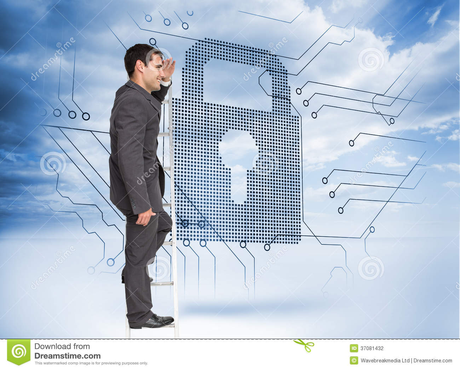 Download Szczęśliwa Biznesmen Pozycja Na Drabinie Zdjęcie Stock - Obraz złożonej z kłódka, digitise: 37081432