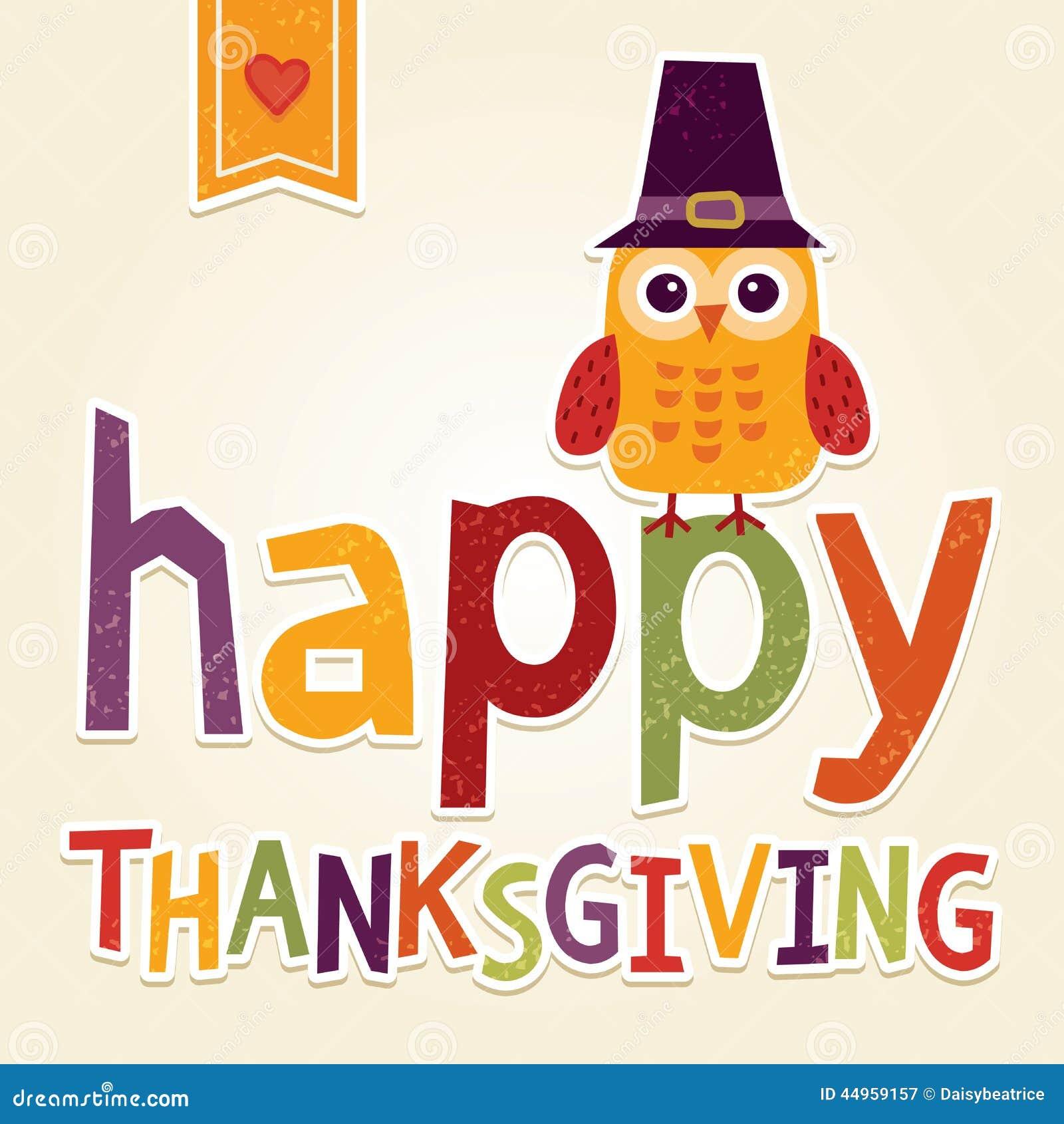 Szczęśliwa dziękczynienie ilustracja z sową w pielgrzymim kostiumu