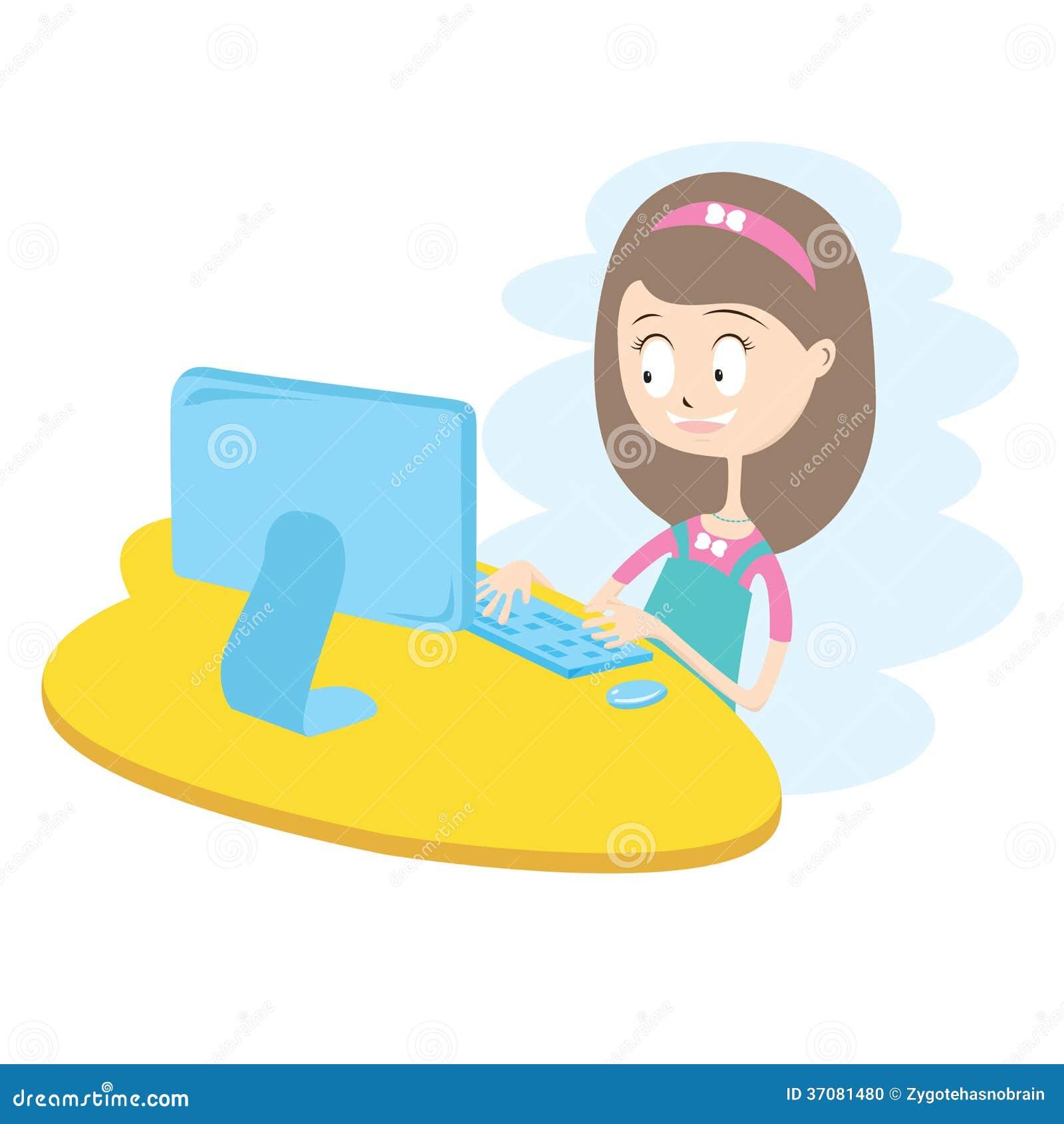 Download Szczęśliwa Dziewczyna Używa Komputer. Ilustracja Wektor - Ilustracja złożonej z wyznaczający, uśmiech: 37081480