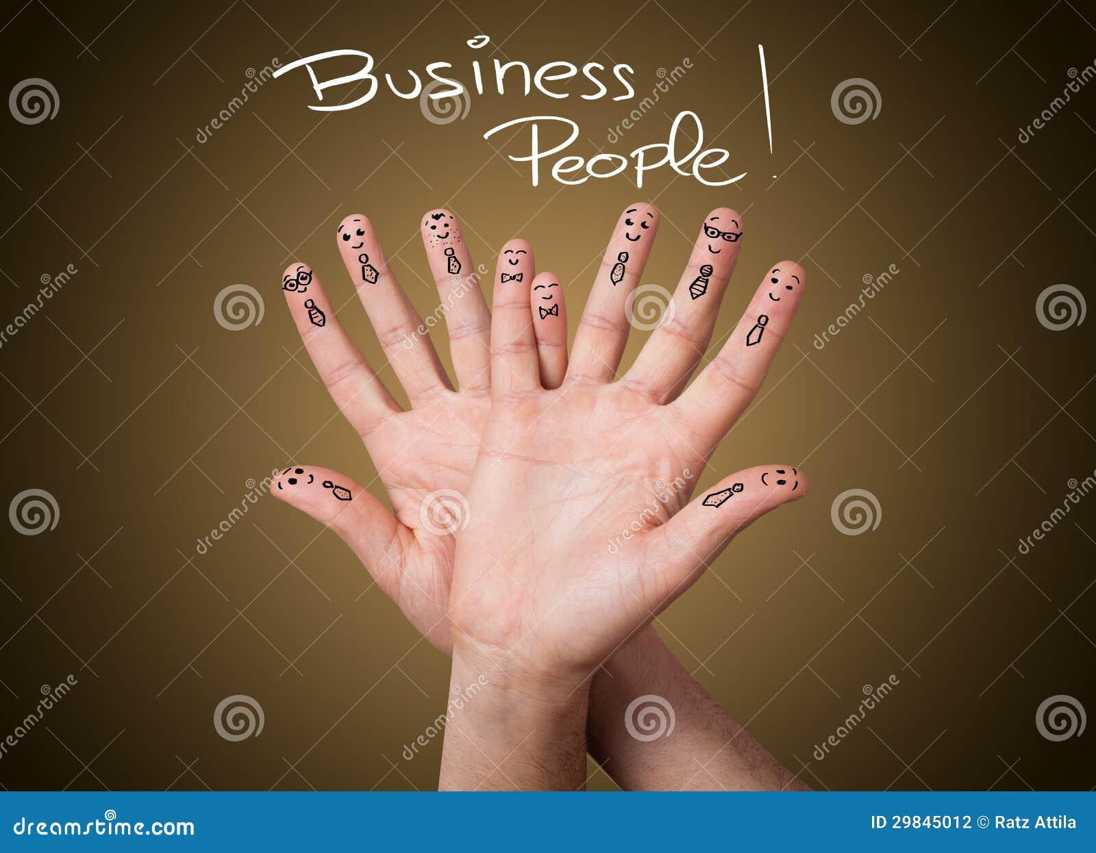 Grupa szczęśliwi biznesu palca smileys
