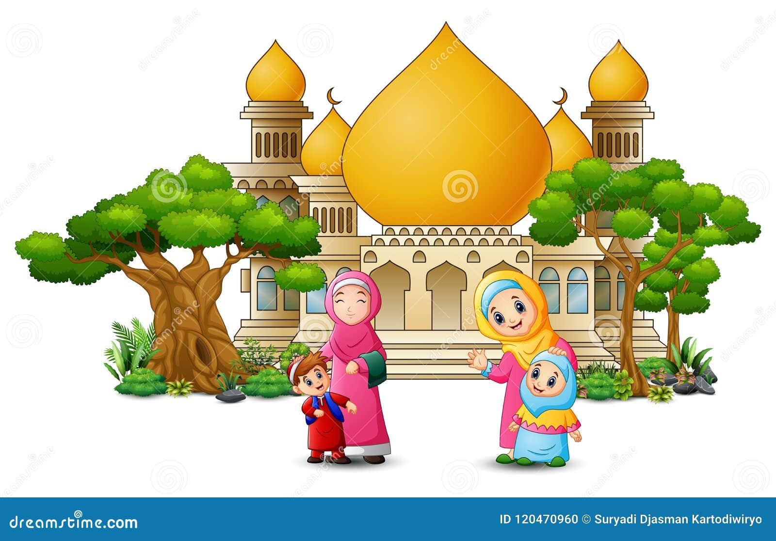 Szczęśliwa islamska dzieciak kreskówka bawić się przed meczetem