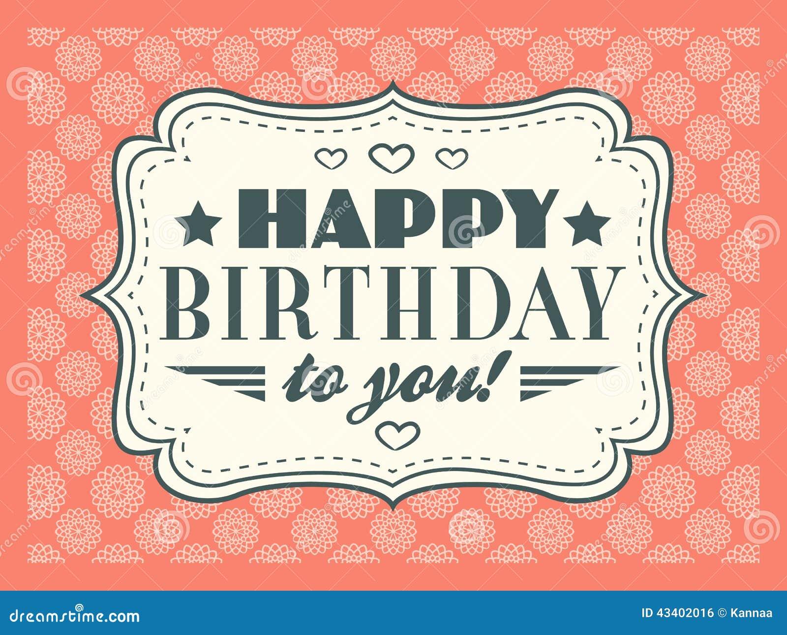 Szczęśliwa Kartkę Na Urodziny Typografia Pisze List Chrzcielnica Typ