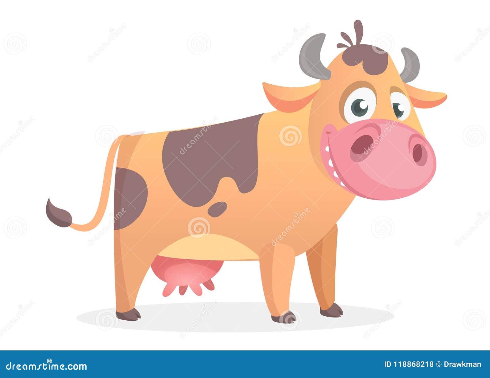 Szczęśliwa kreskówki krowa Wektor odizolowywający na bielu