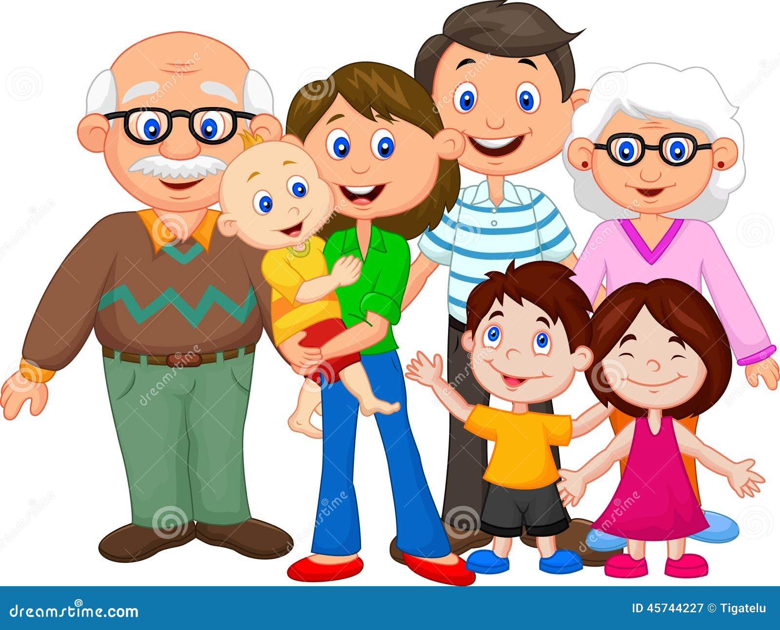 Szczęśliwa kreskówki rodzina