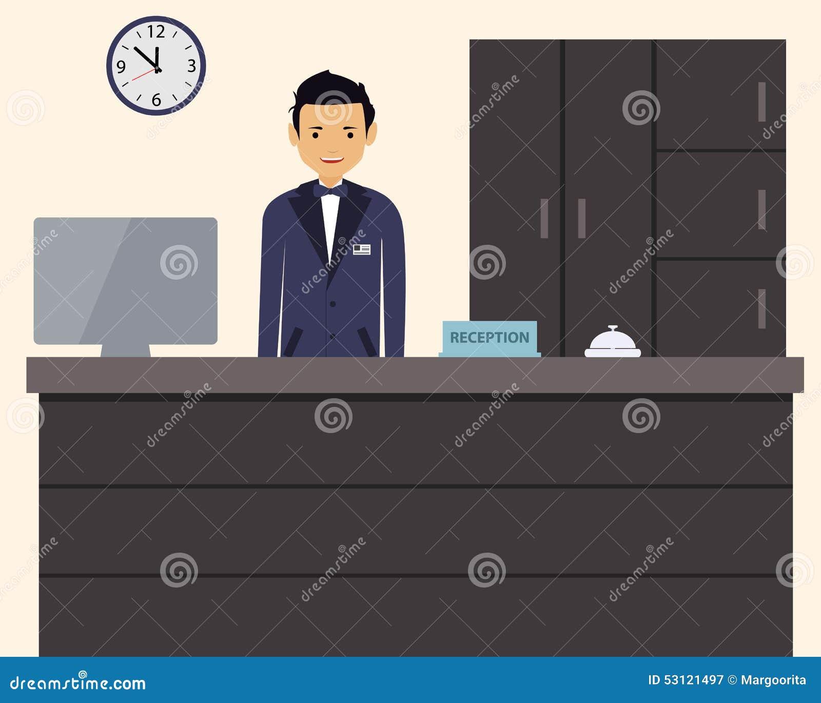 Szczęśliwa męska recepcjonista pozycja przy hotelem