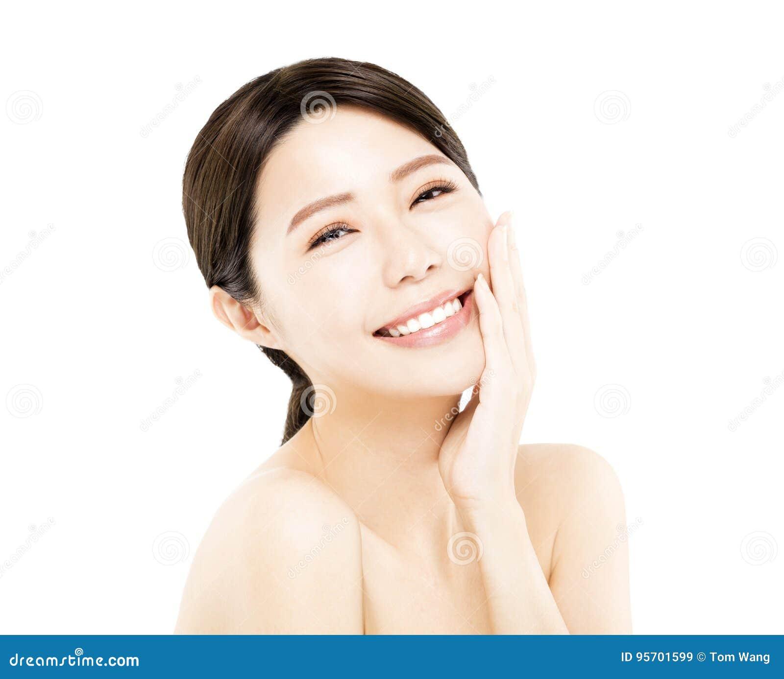 Szczęśliwa młodej kobiety piękna twarz