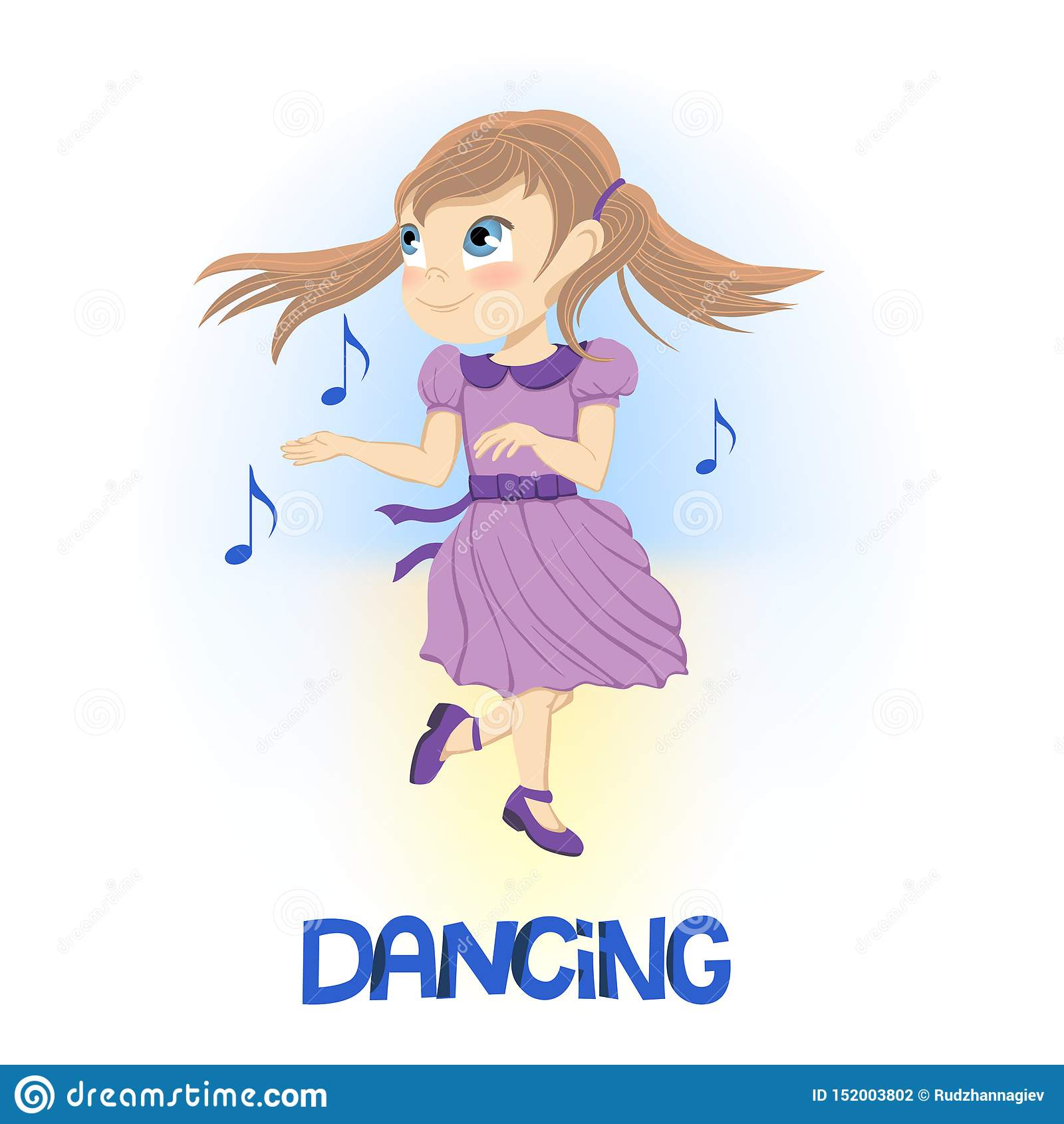 Szczęśliwa mała dziewczynka w purpurach ubiera dancingowe pobliskie unosi się muzykalne notatki