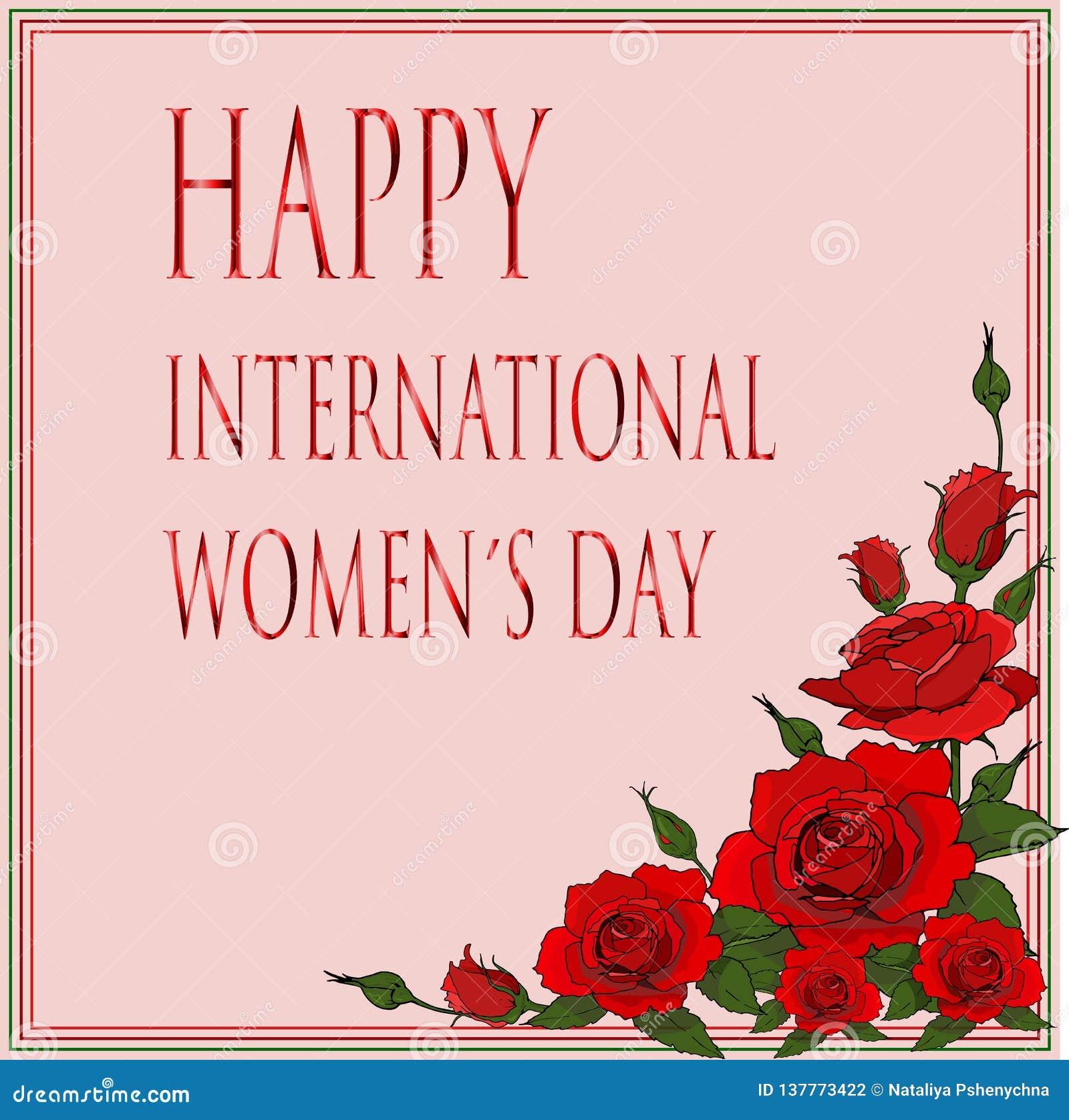Szczęśliwa międzynarodowa womendnia karta z czerwonymi różami