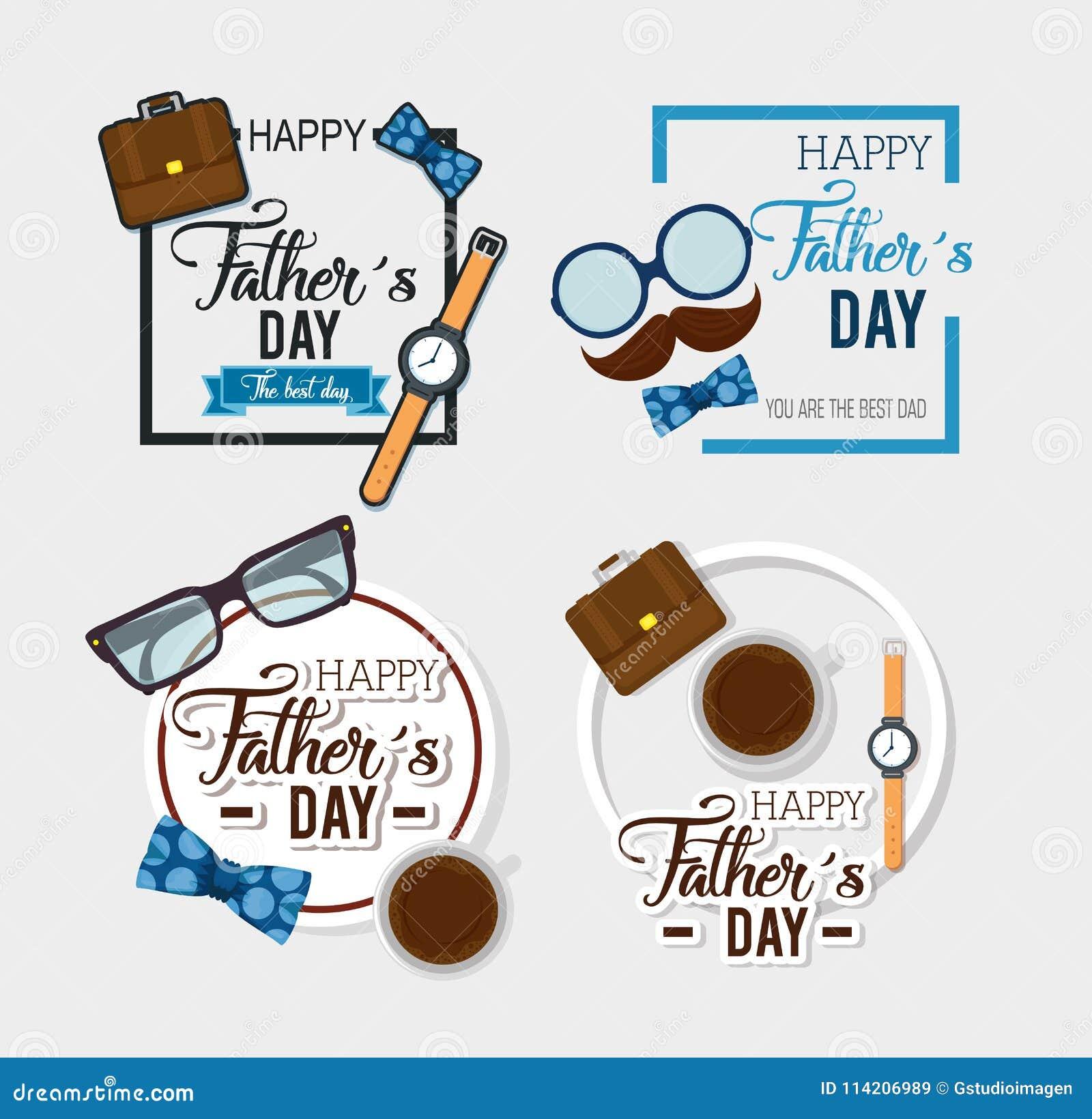 Szczęśliwa ojca dnia karta z kaligrafią i akcesorium