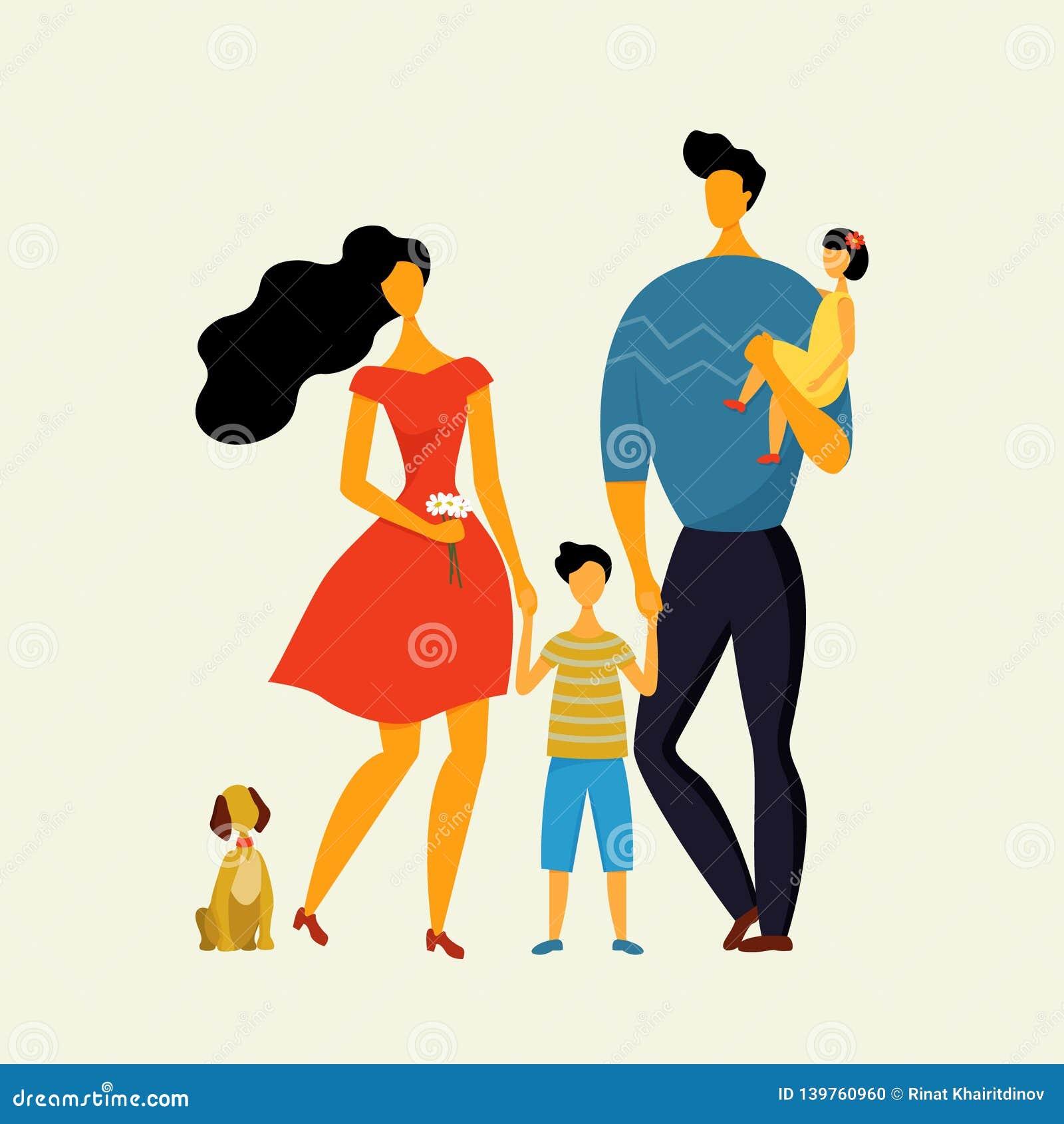 Szczęśliwa rodzina, ojciec, matka, syn i córka chodzi psa w lecie,