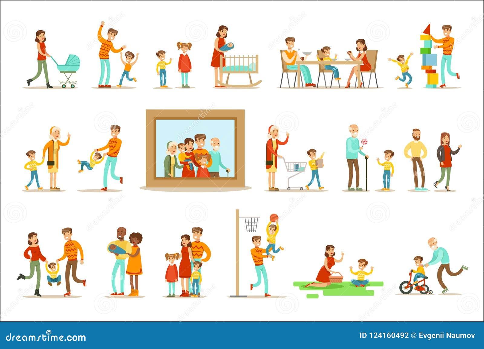 Szczęśliwa rodzina Robi rzecz portreta Wpólnie Ilustracyjnemu Otaczającemu Dużemu obrazkowi