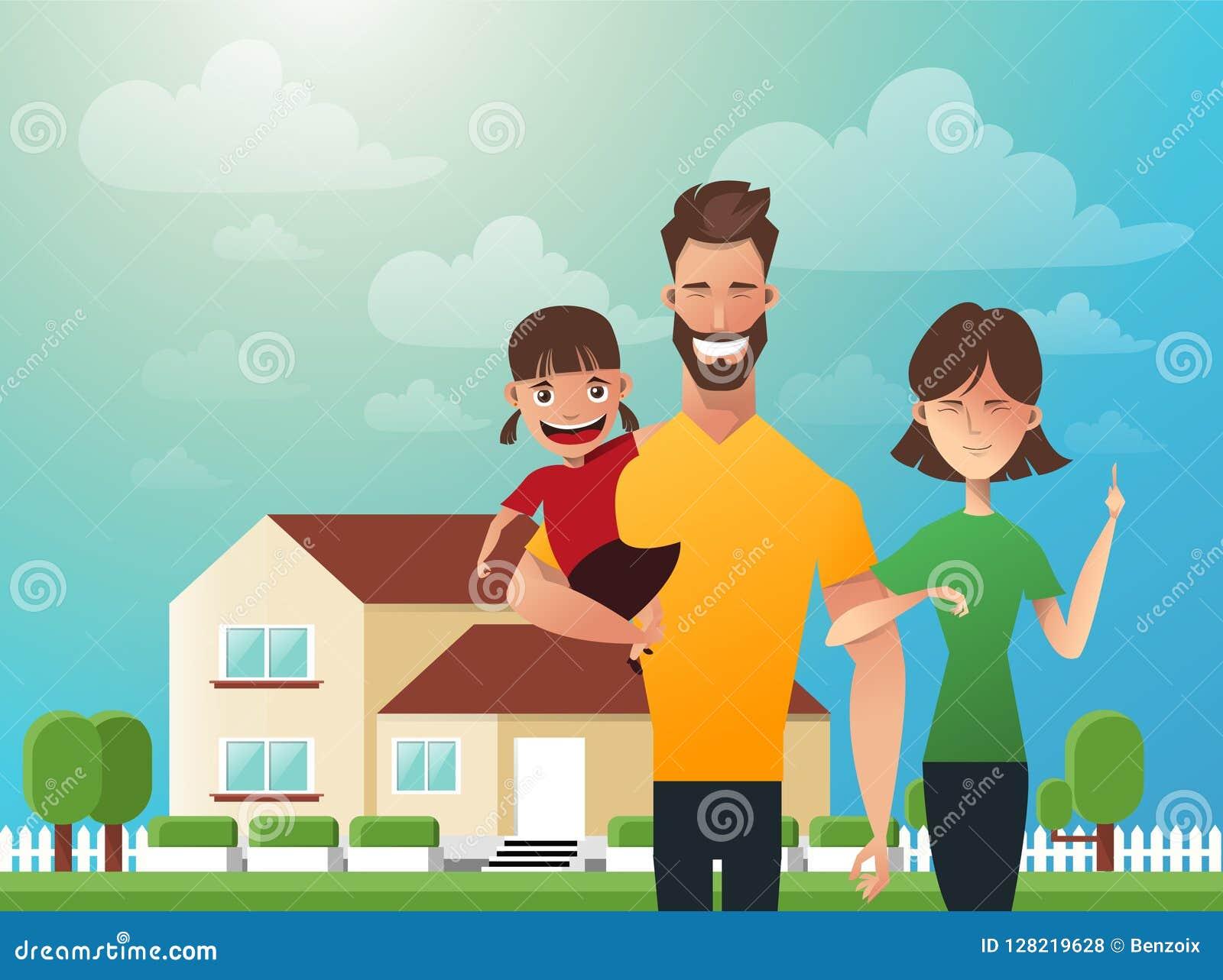 Szczęśliwa rodzina w tle jego do domu Ojciec, matka i córka, wpólnie outdoors Wektorowe ilustracje w