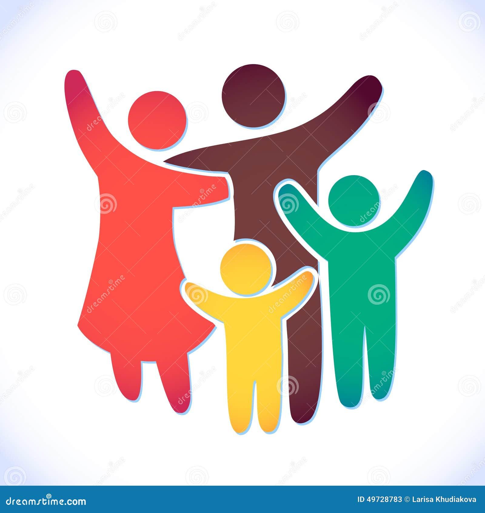 Szczęśliwa rodzinna ikona stubarwna w prostych postaciach Dwa dzieci, tata i mamy stojaka wpólnie, Wektor może używać jako logoty