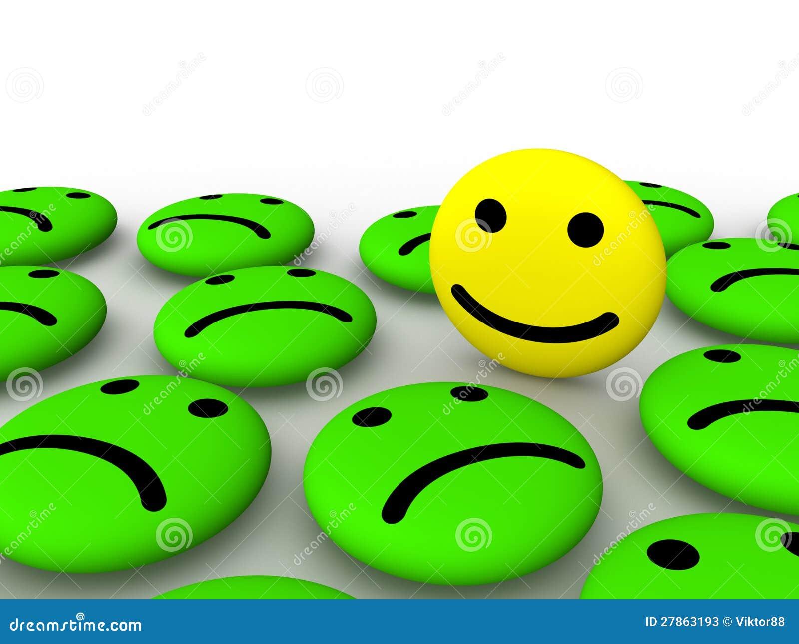 Szczęśliwa smiley twarz wśród smutnych smileys