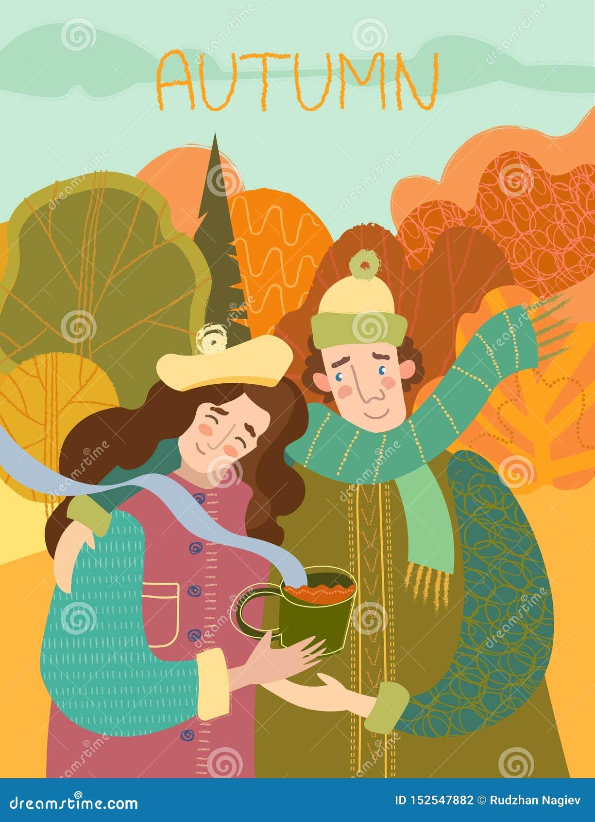 Szczęśliwa uśmiechnięta kochająca para cieszy się gorącą kawę outdoors