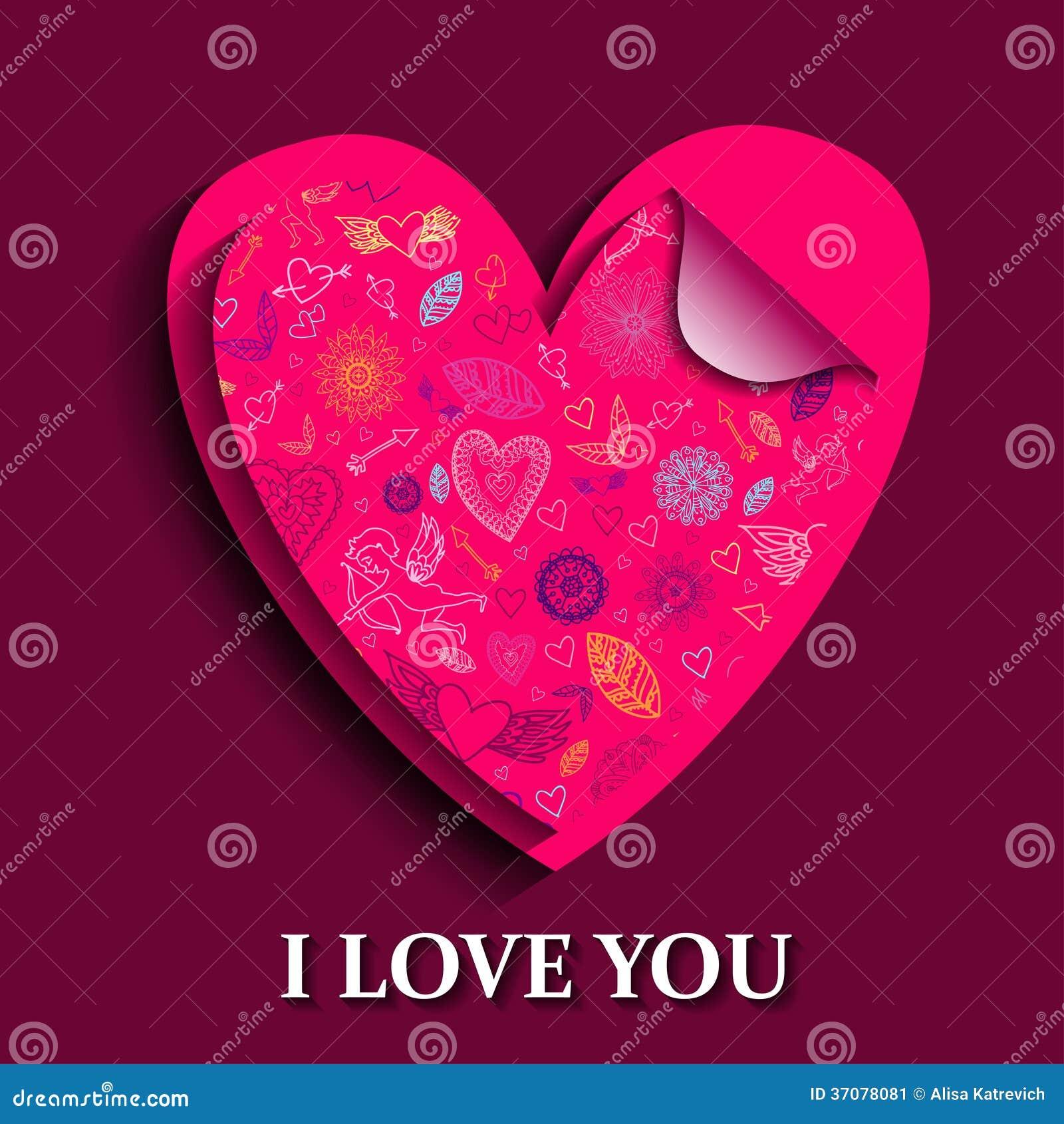 Download Szczęśliwa Valentines Dnia Karta. Ilustracja Wektor - Ilustracja złożonej z szczęśliwy, kardamon: 37078081