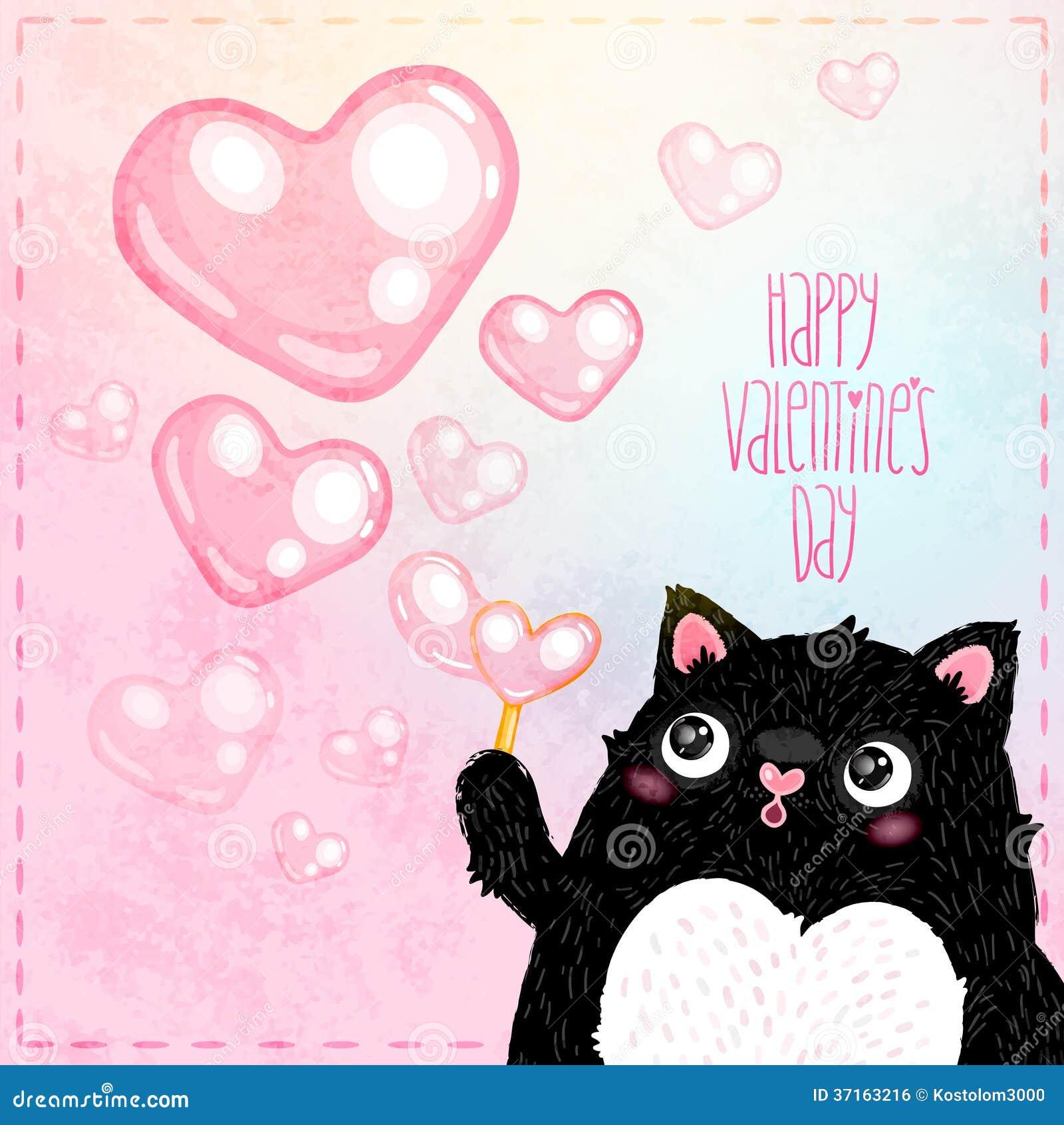 Szczęśliwa walentynka dnia karta z kotem