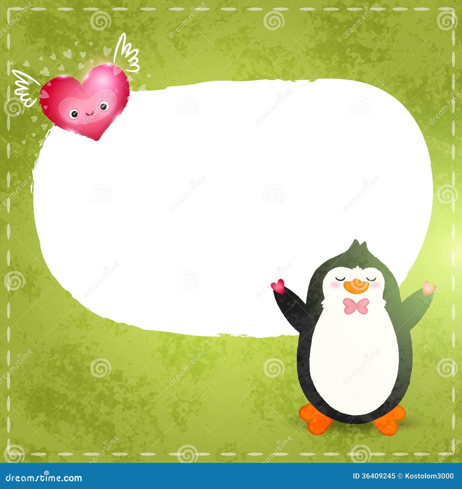Szczęśliwa walentynka dnia karta z pingwinem i sercem