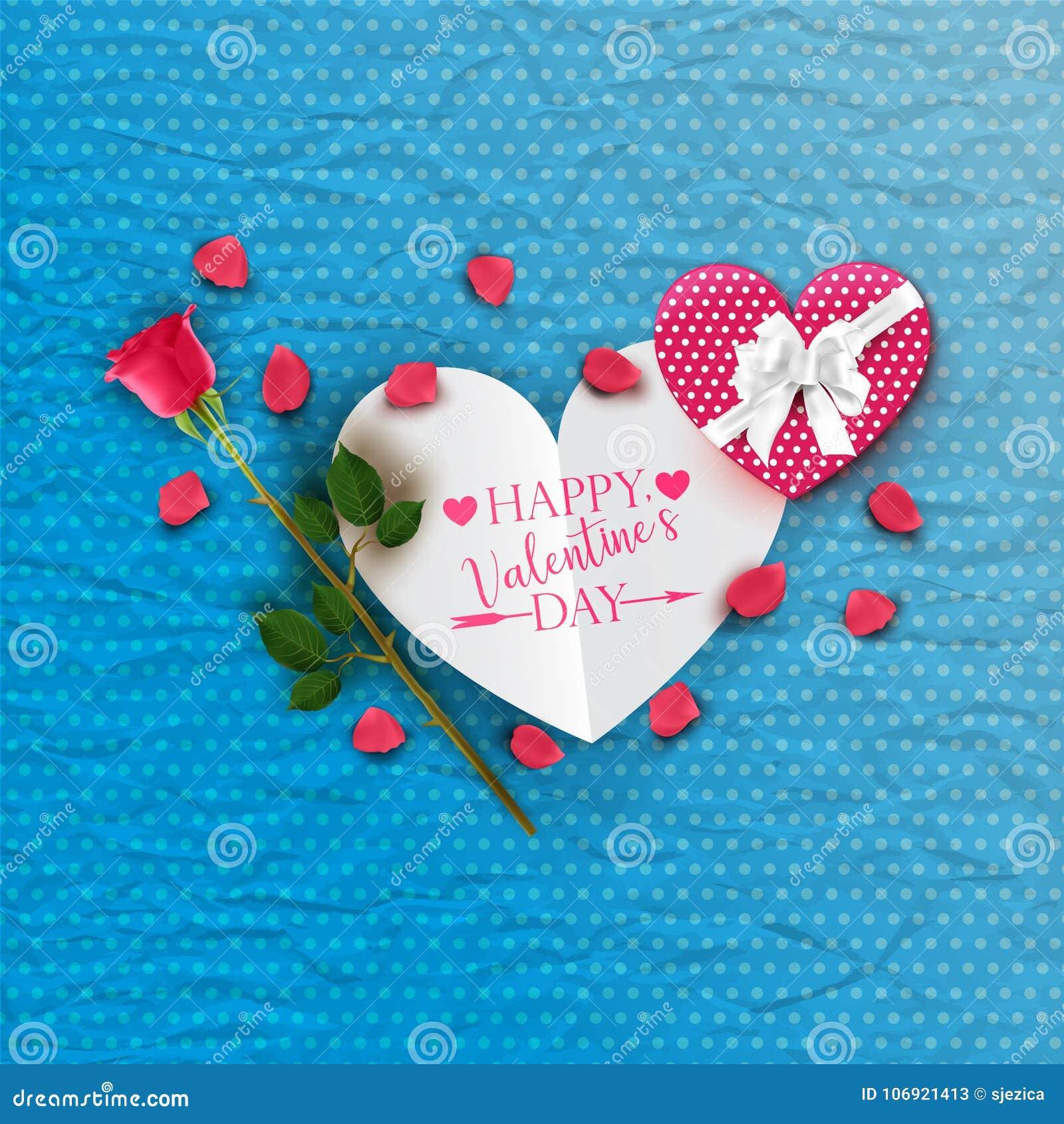 Szczęśliwa walentynki ` s dnia karta z menchii różą i prezenta pudełkiem