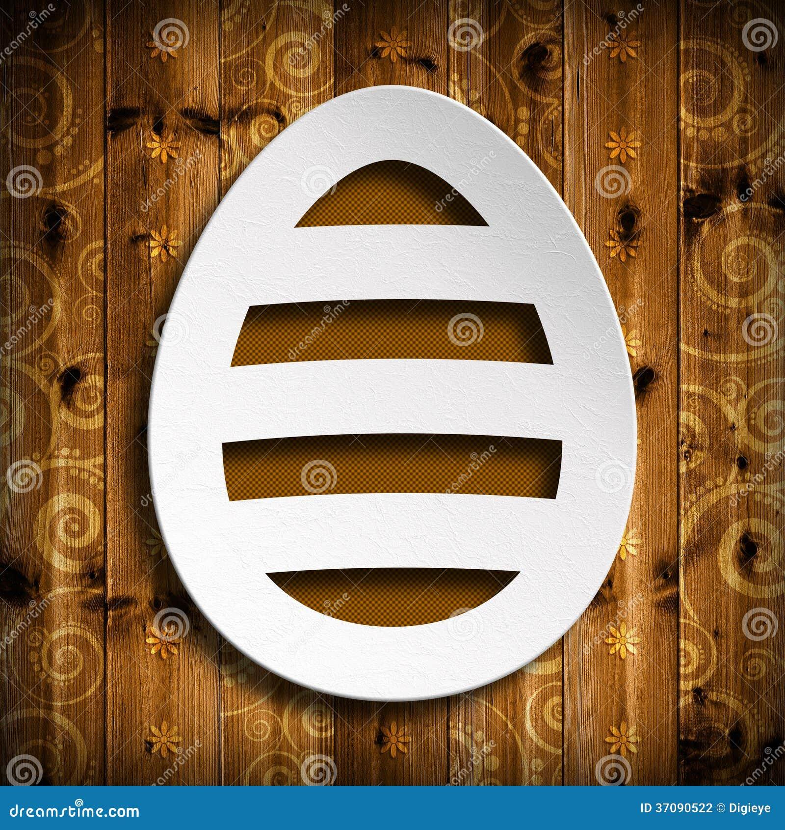 Download Szczęśliwa Wielkanoc - Kształt Easter Jajko Na Drewnianym Tle Ilustracji - Ilustracja złożonej z wita, szczęśliwy: 37090522