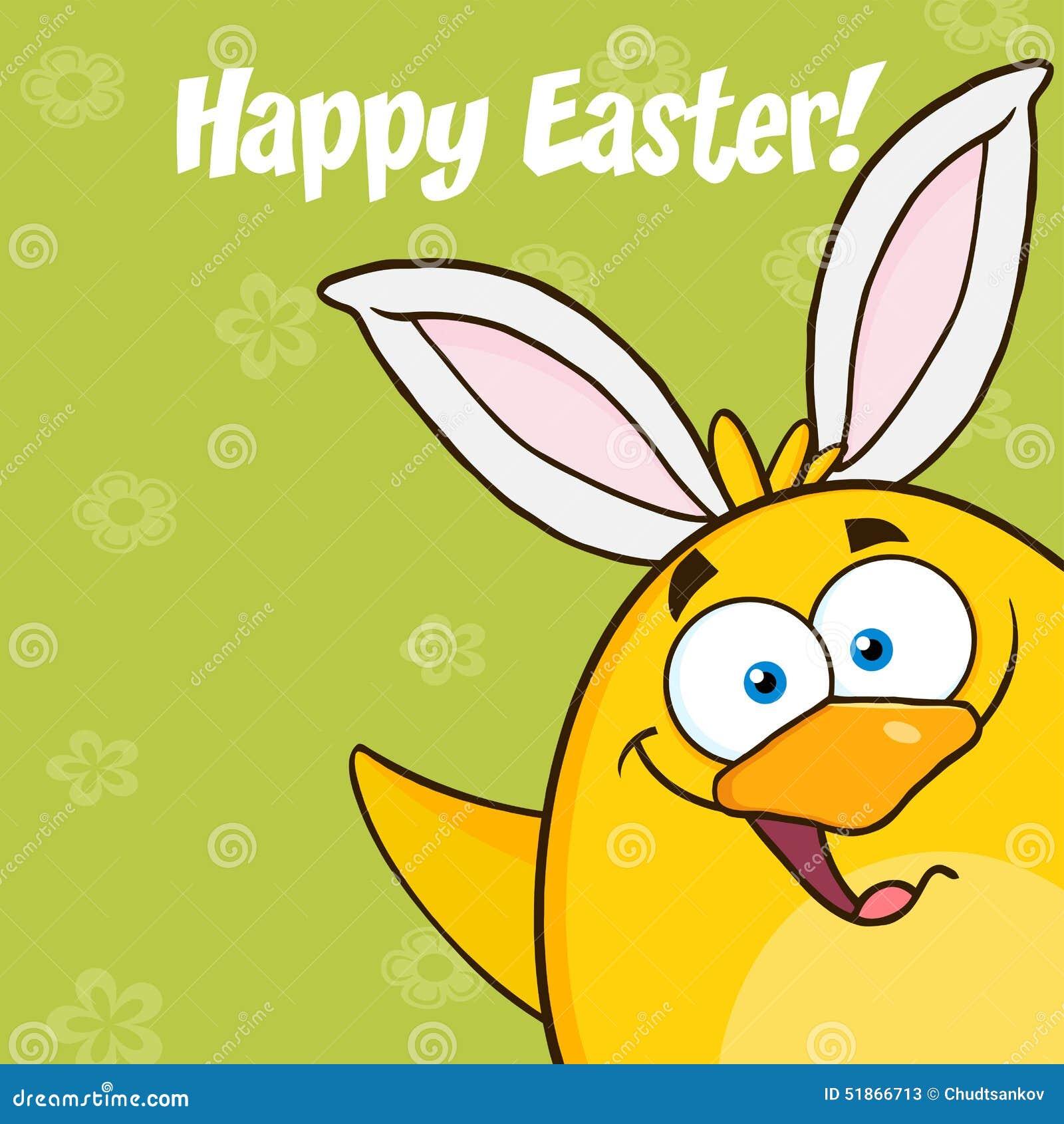 Szczęśliwa wielkanoc Z Uśmiechniętym Żółtym Pisklęcym postać z kreskówki Z królików ucho Machać