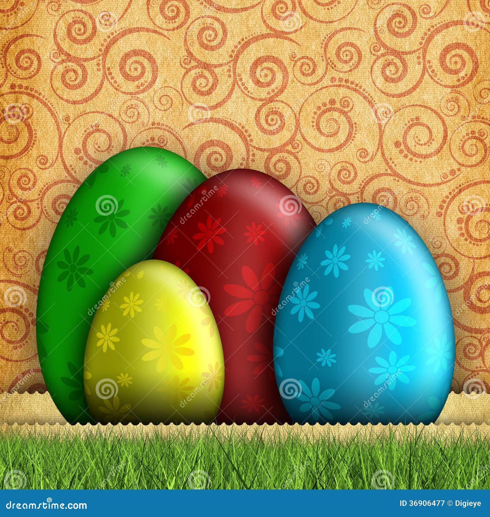 Szczęśliwa Wielkanocna karta - jajka na wzorzystym tle