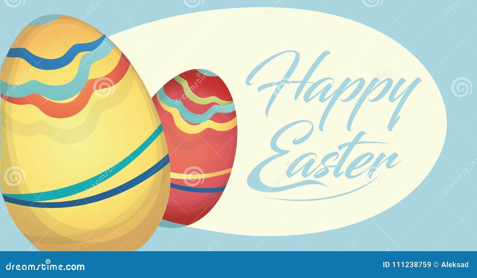 Szczęśliwa Wielkanocna wakacje karta z jajkami