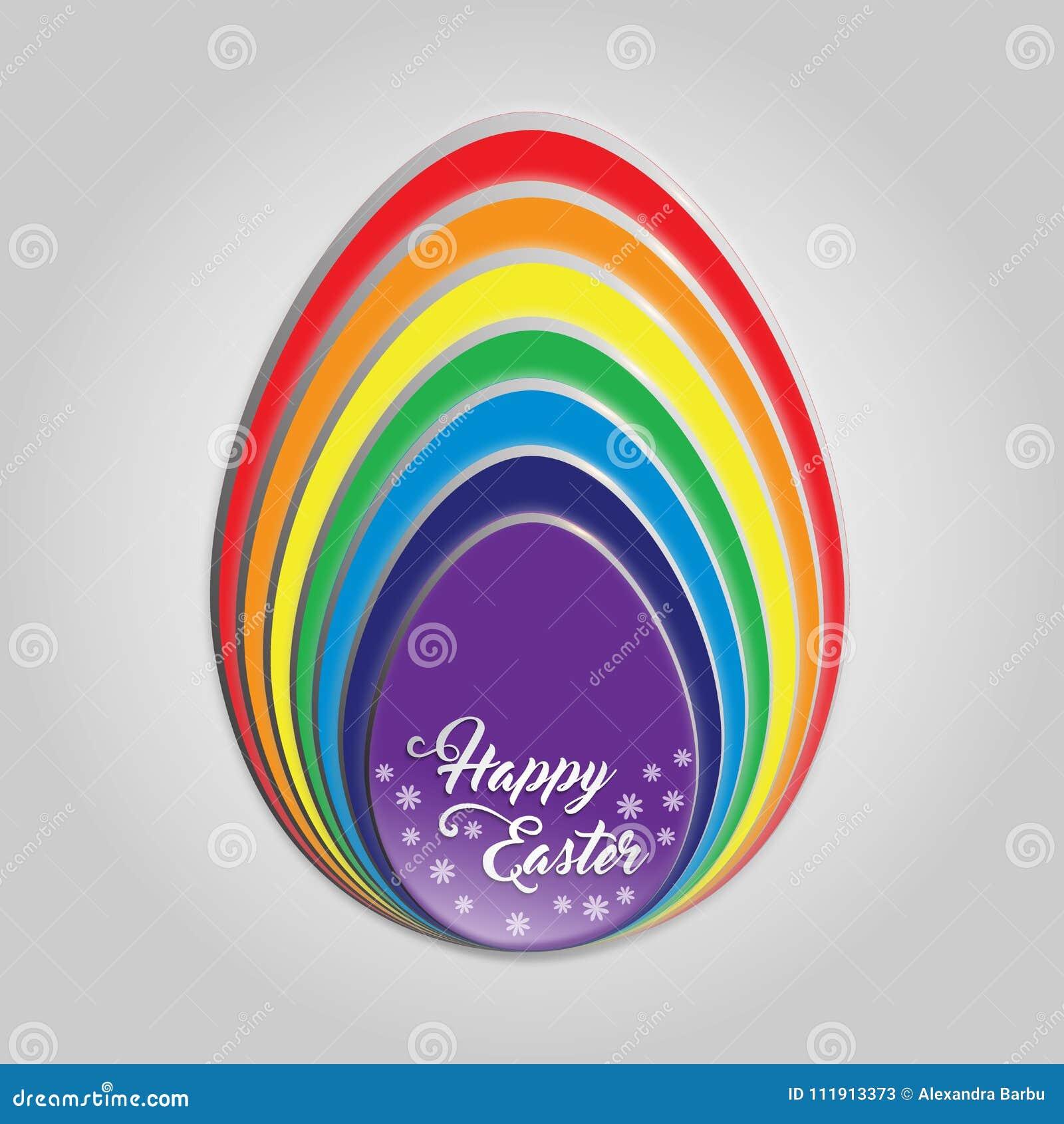 Szczęśliwa Wielkanocnego jajka tęczy karta
